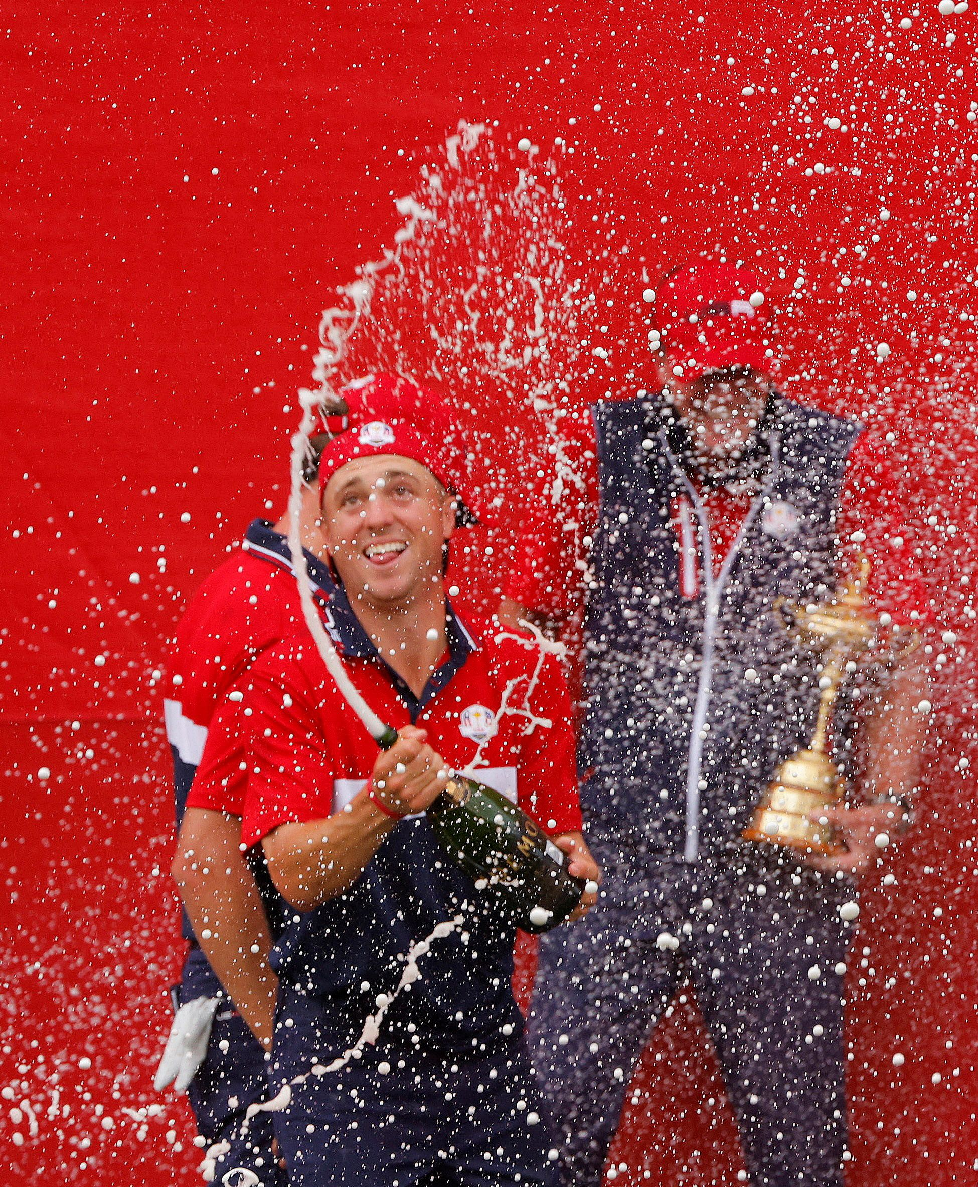Golf - The 2020 Ryder Cup - Whistling Straits, Sheboygan, Wisconsin, U.S. - September 26, 2021 Team USA's Justin Thomas sprays sparkling wine as he celebrates after winning The Ryder Cup REUTERS/Brian Snyder