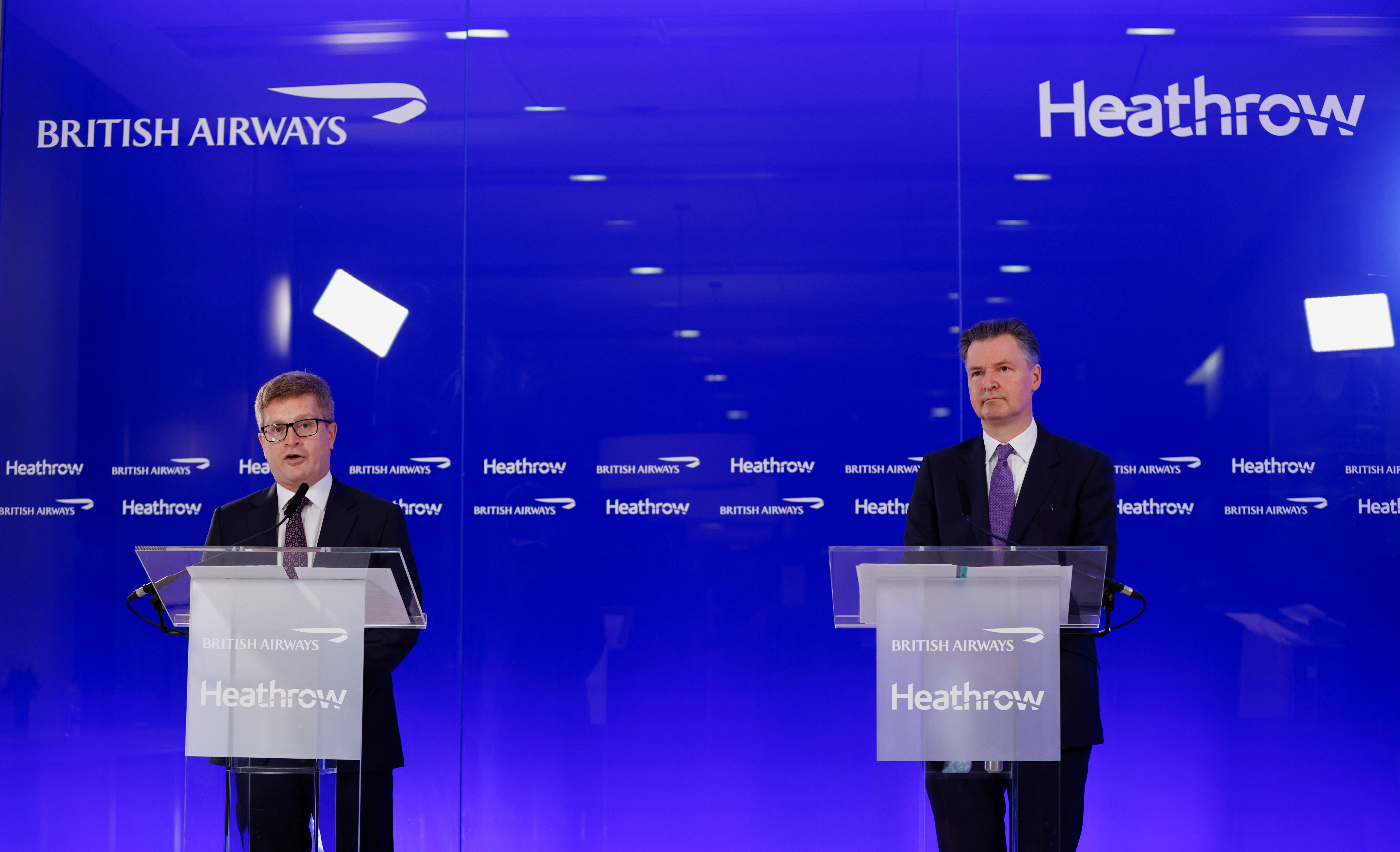 Heathrow Airport CEO John Holland-Kaye and British Airways CEO Sean Doyle hold a joint news conference at Heathrow Airport in London, Britain, May 17, 2021. REUTERS/John Sibley
