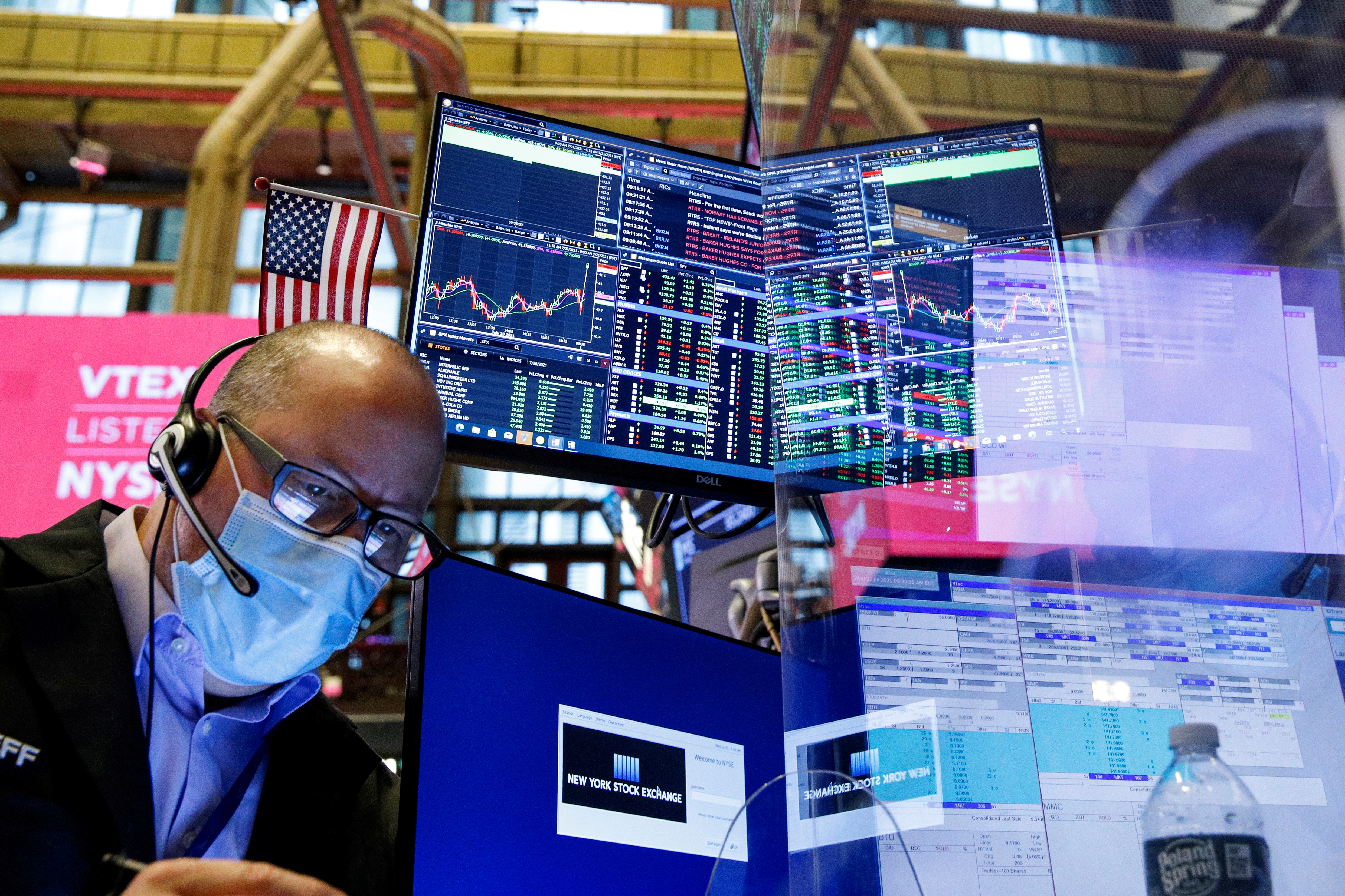 A trader works on the floor of the New York Stock Exchange (NYSE) in New York City, New York, U.S., July 21, 2021.  REUTERS/Brendan McDermid