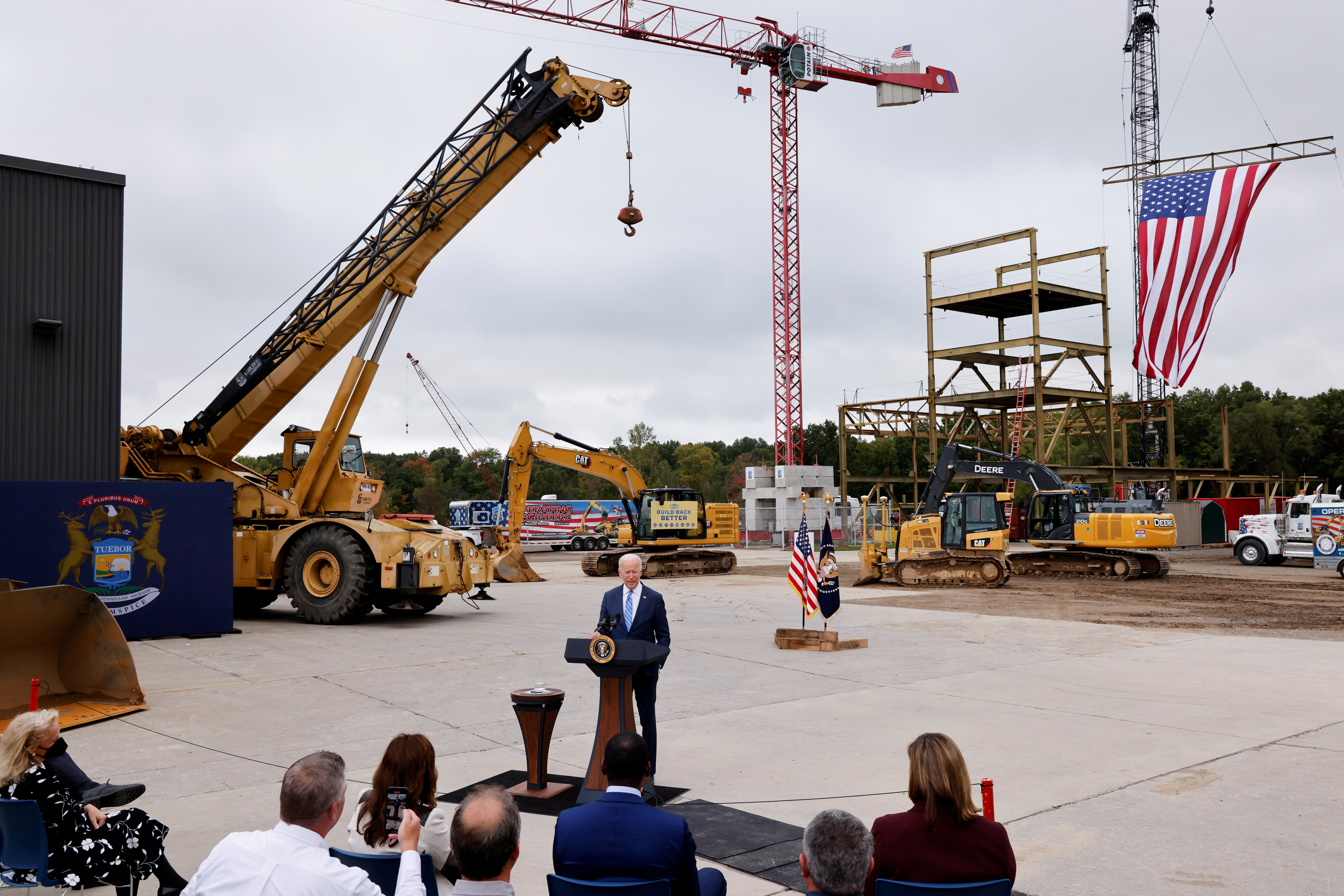 U.S. President Joe Biden delivers remarks on infrastructure investments at the International Union of Operating Engineers Local 324 training facility in Howell, Michigan, U.S. October 5, 2021. REUTERS/Jonathan Ernst
