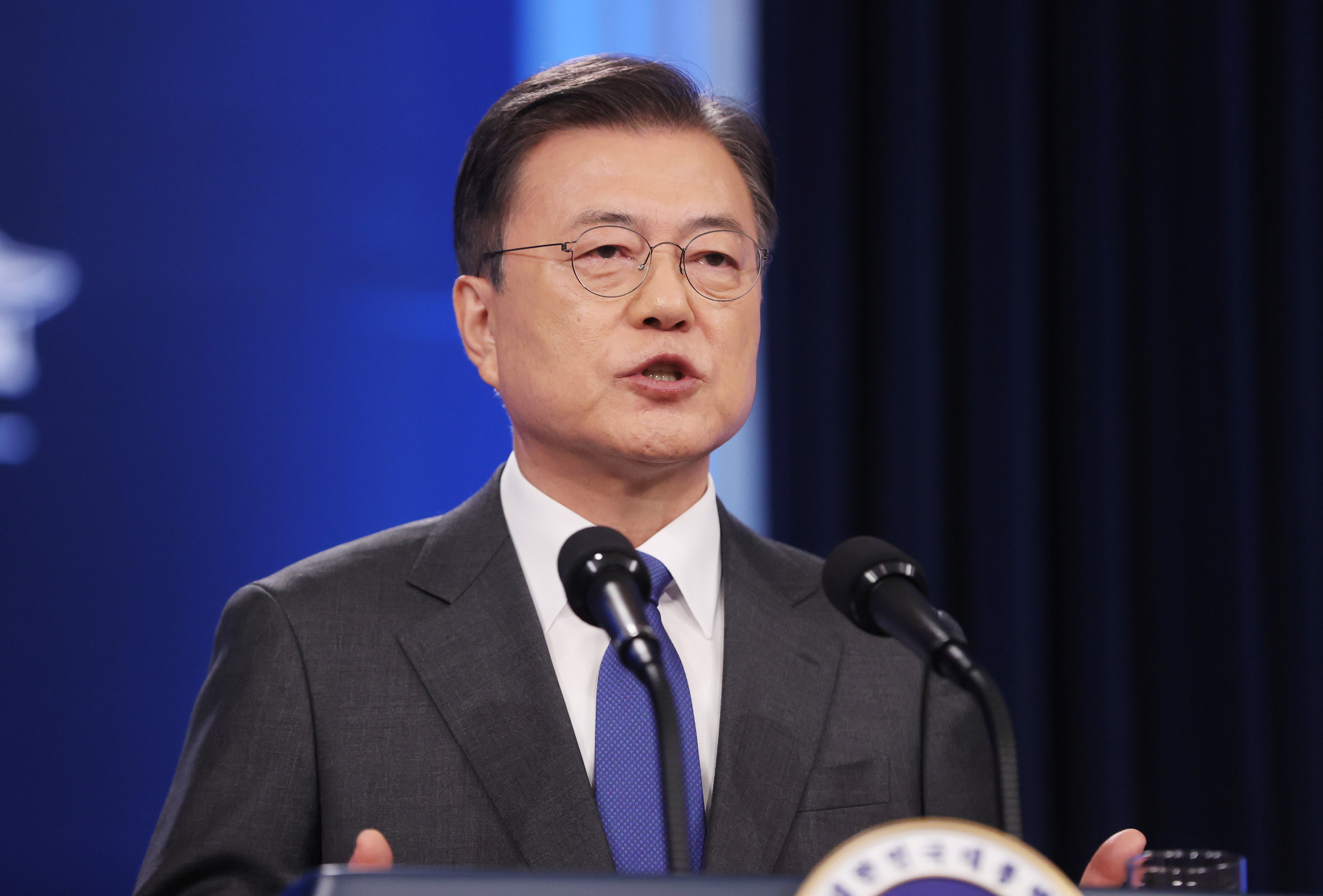 South Korean President Moon Jae-in delivers his speech during a news conference at the Presidential Blue House in Seoul, South Korea, May 10, 2021.    Yonhap via REUTERS