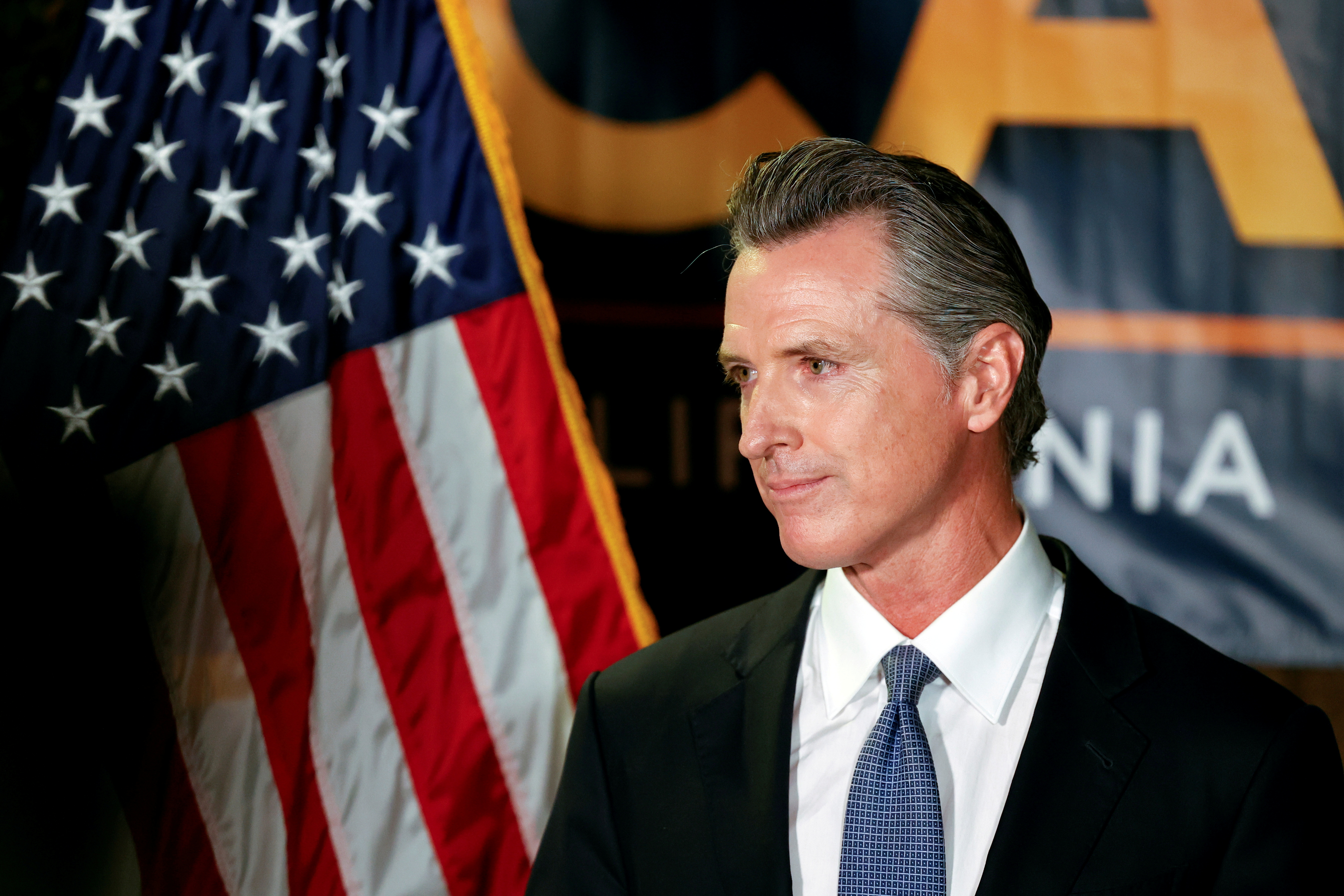 California Governor Gavin Newsom makes an appearance after the polls close on the recall election, at the California Democratic Party headquarters in Sacramento, California, U.S., September 14, 2021.  REUTERS/Fred Greaves