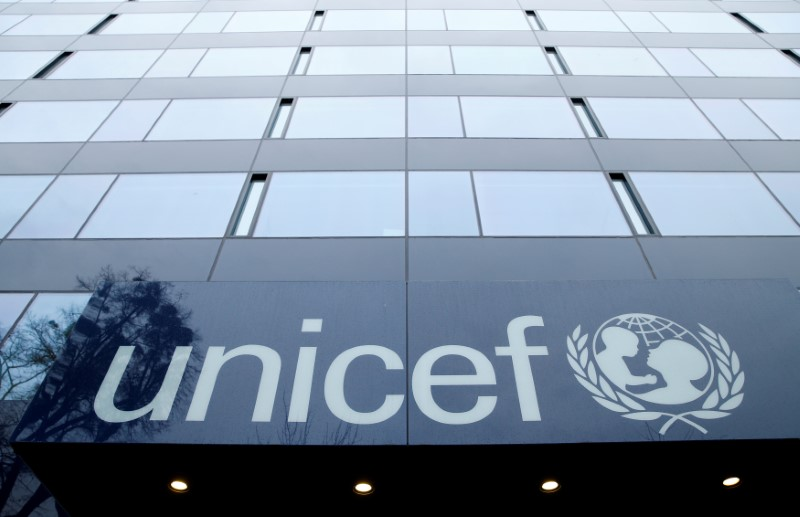 A UNICEF logo is pictured outside their offices in Geneva, Switzerland, January 30, 2017.  REUTERS/Denis Balibouse/File Photo