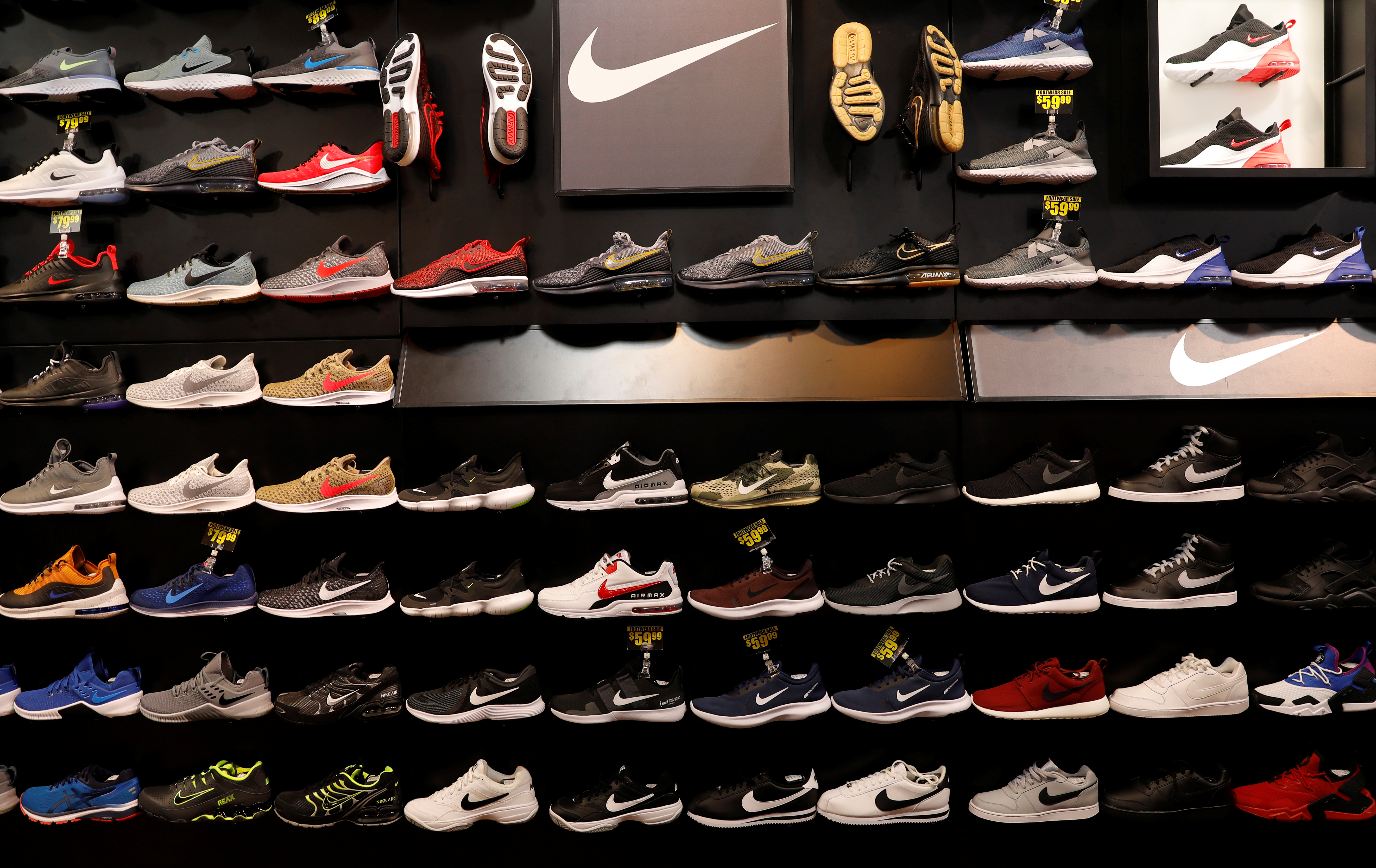 Nike shoes are seen displayed at a sporting goods store in New York City, New York, U.S., May 14, 2019. REUTERS/Mike Segar