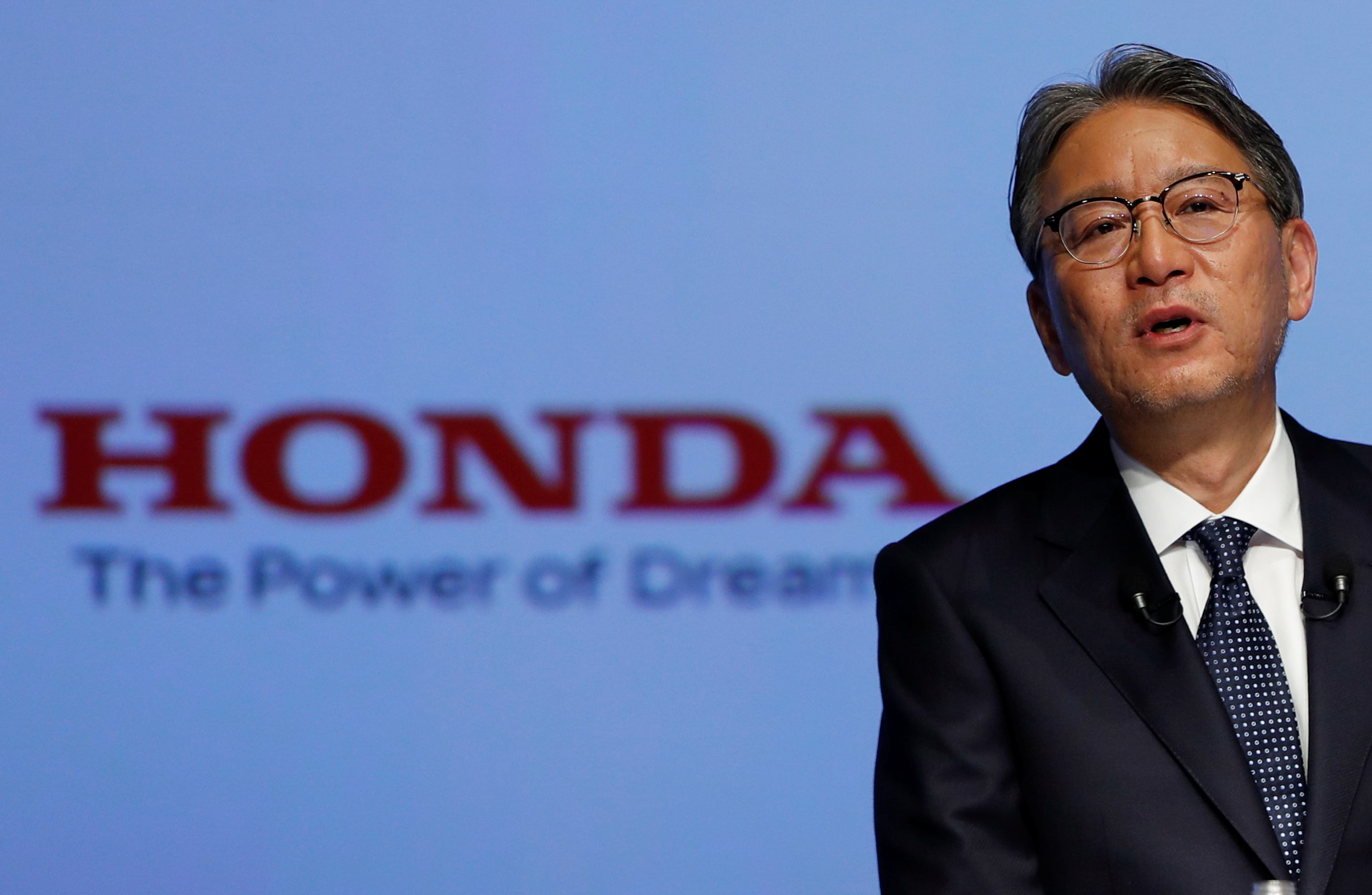 Honda Motor new CEO Toshihiro Mibe attends his inaugural news conference in Tokyo, Japan April 23, 2021.  REUTERS/Issei Kato