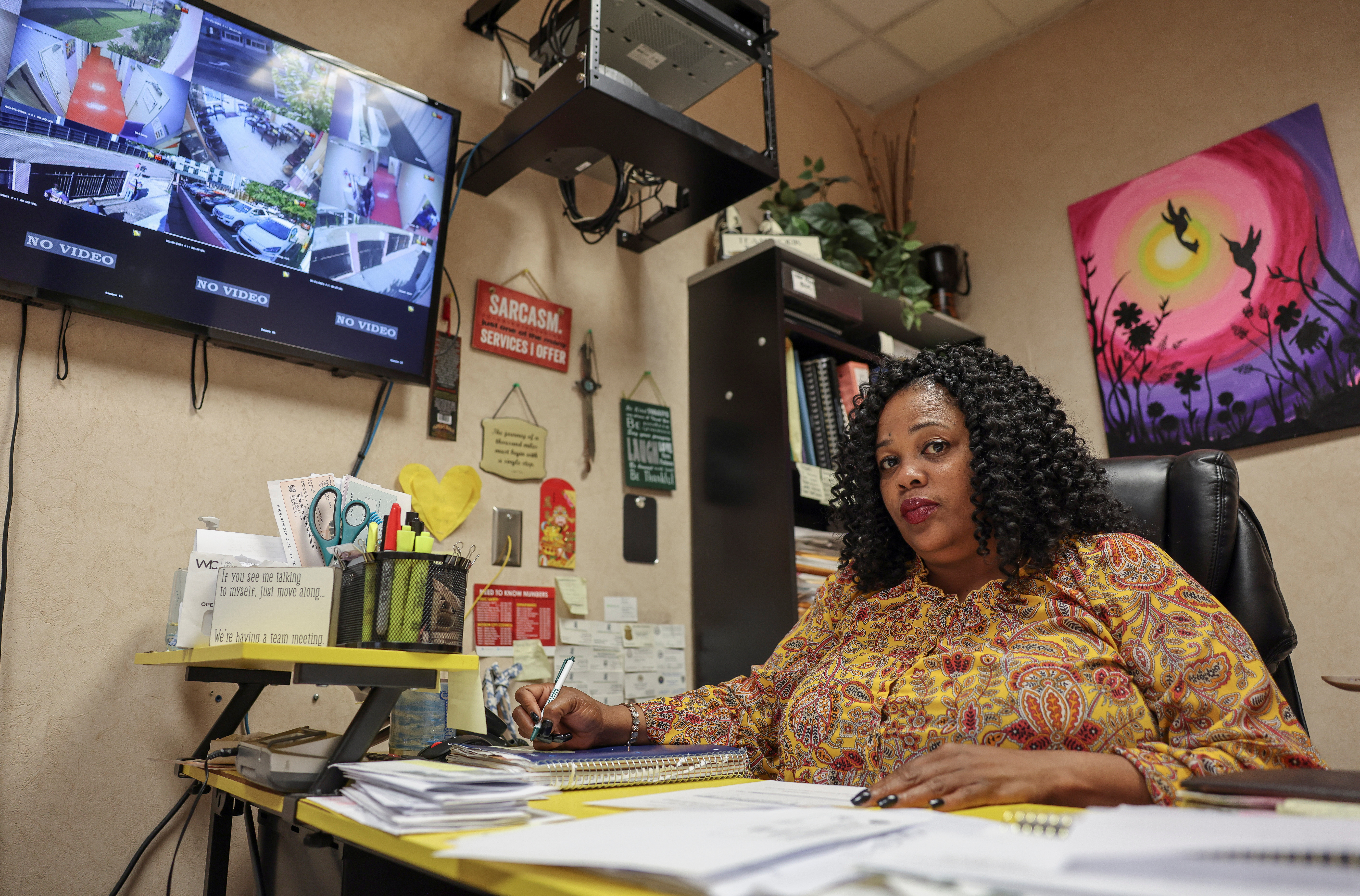 Clinic Director Shannon Brewer sits at work in Jackson Women's Health Organization, the only abortion provider in the state, in Jackson, Mississippi, U.S. May 21, 2021. Picture taken May 21, 2021. REUTERS/Evelyn Hockstein