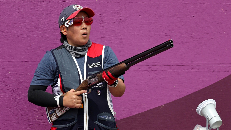 Tokyo 2020 Olympics - Shooting - Women's Skeet - Qualification Day 2 - Asaka Shooting Range, Tokyo, Japan - July 26, 2021. Naoko Ishihara of Japan reacts REUTERS/Ann Wang