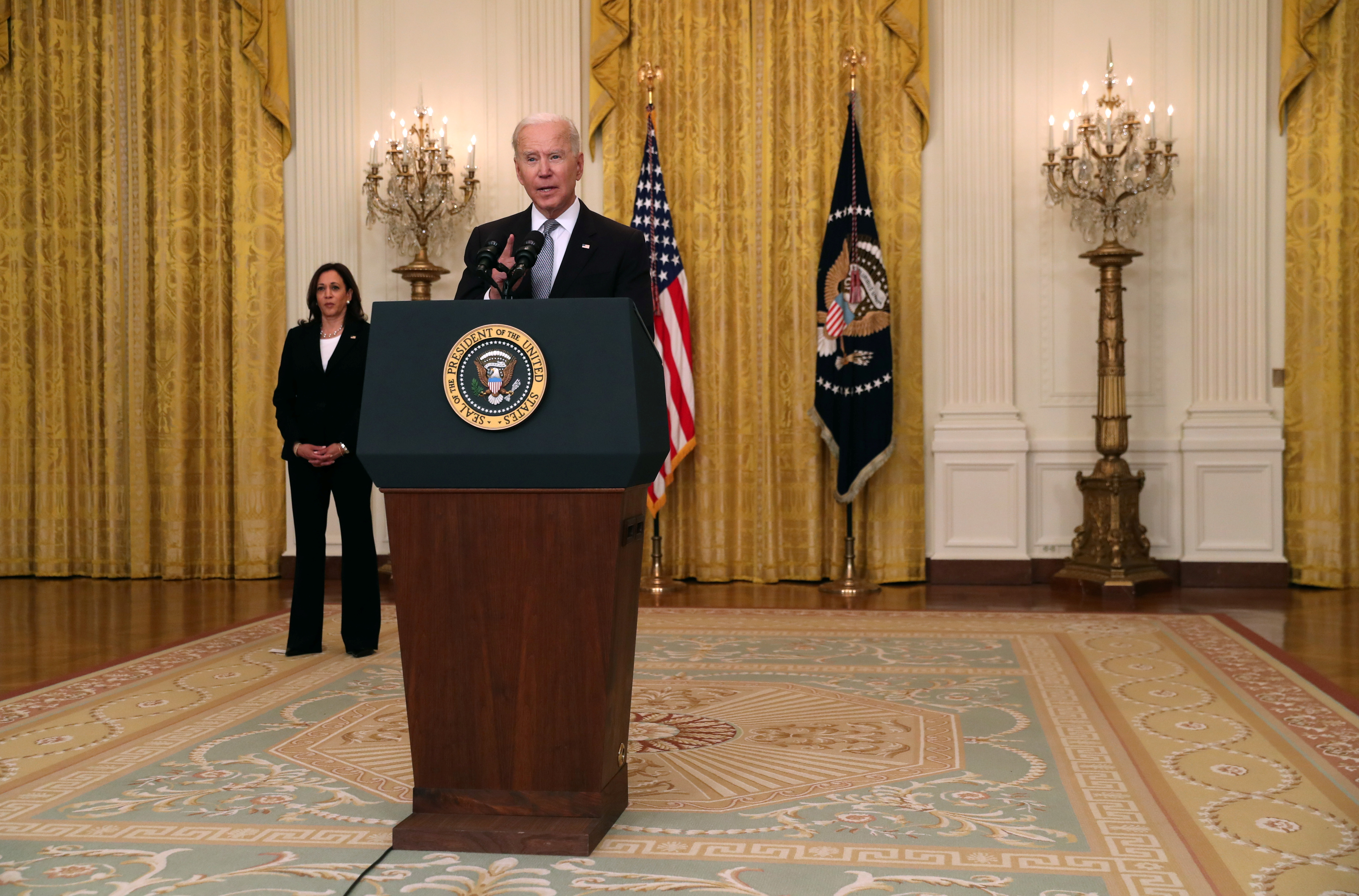 U.S. President Joe Biden delivers remarks from the East Room of the White House in Washington, U.S. May 17, 2021. REUTERS/Leah Millis