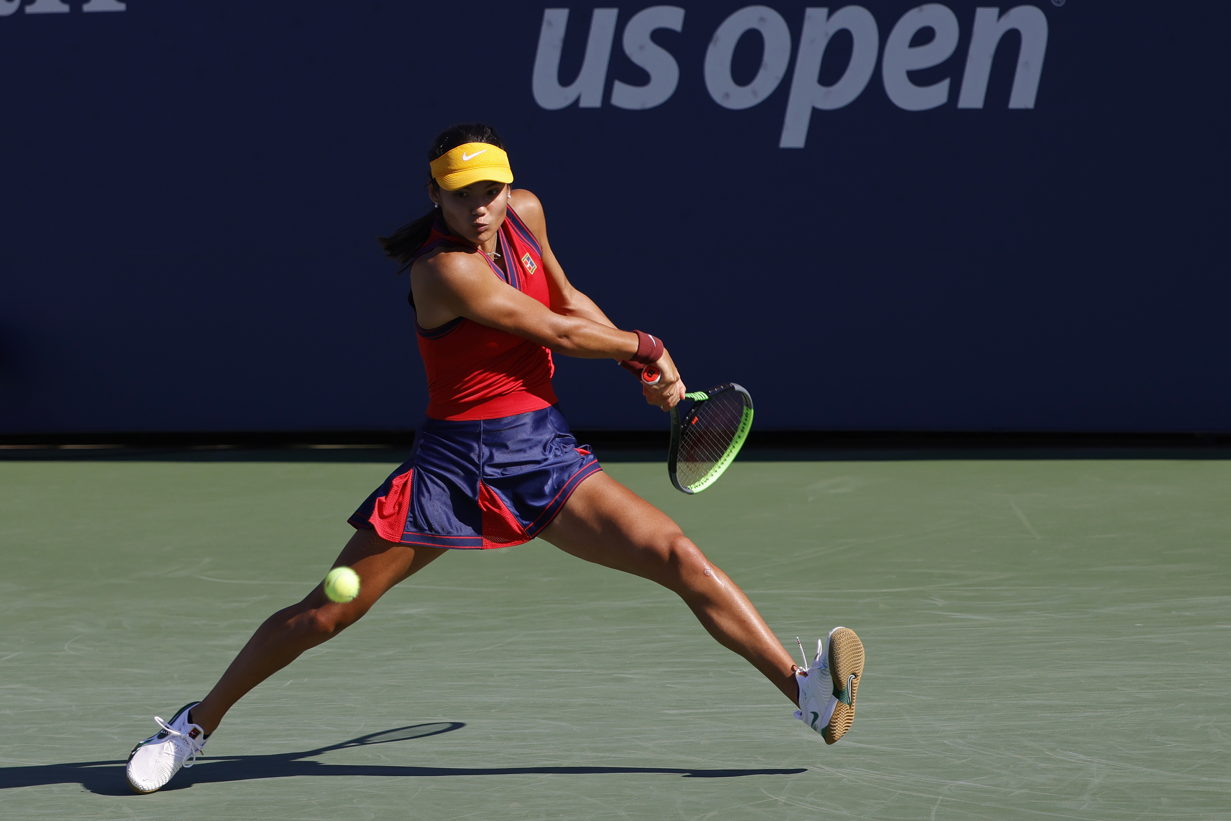 Sep 4, 2021; Flushing, NY, USA; Emma Raducanu of Great Britain hits a backhand against Sara Sorribes Tormo of Spain (not pictured) on day six of the 2021 U.S. Open tennis tournament at USTA Billie Jean King National Tennis Center. Mandatory Credit: Geoff Burke-USA TODAY Sports
