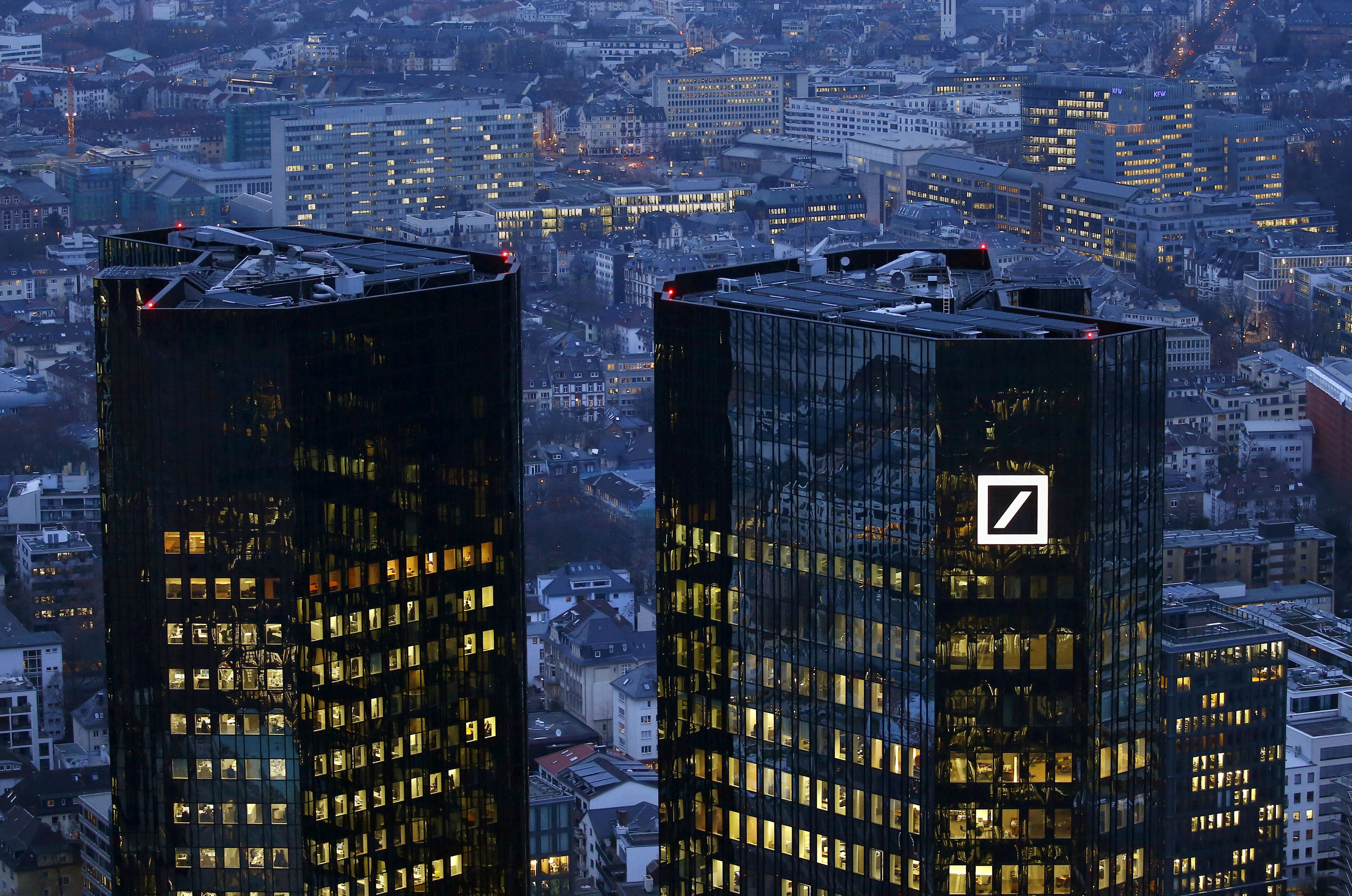 The headquarters of Germany's Deutsche Bank is photographed early evening in Frankfurt, Germany, January 26, 2016.