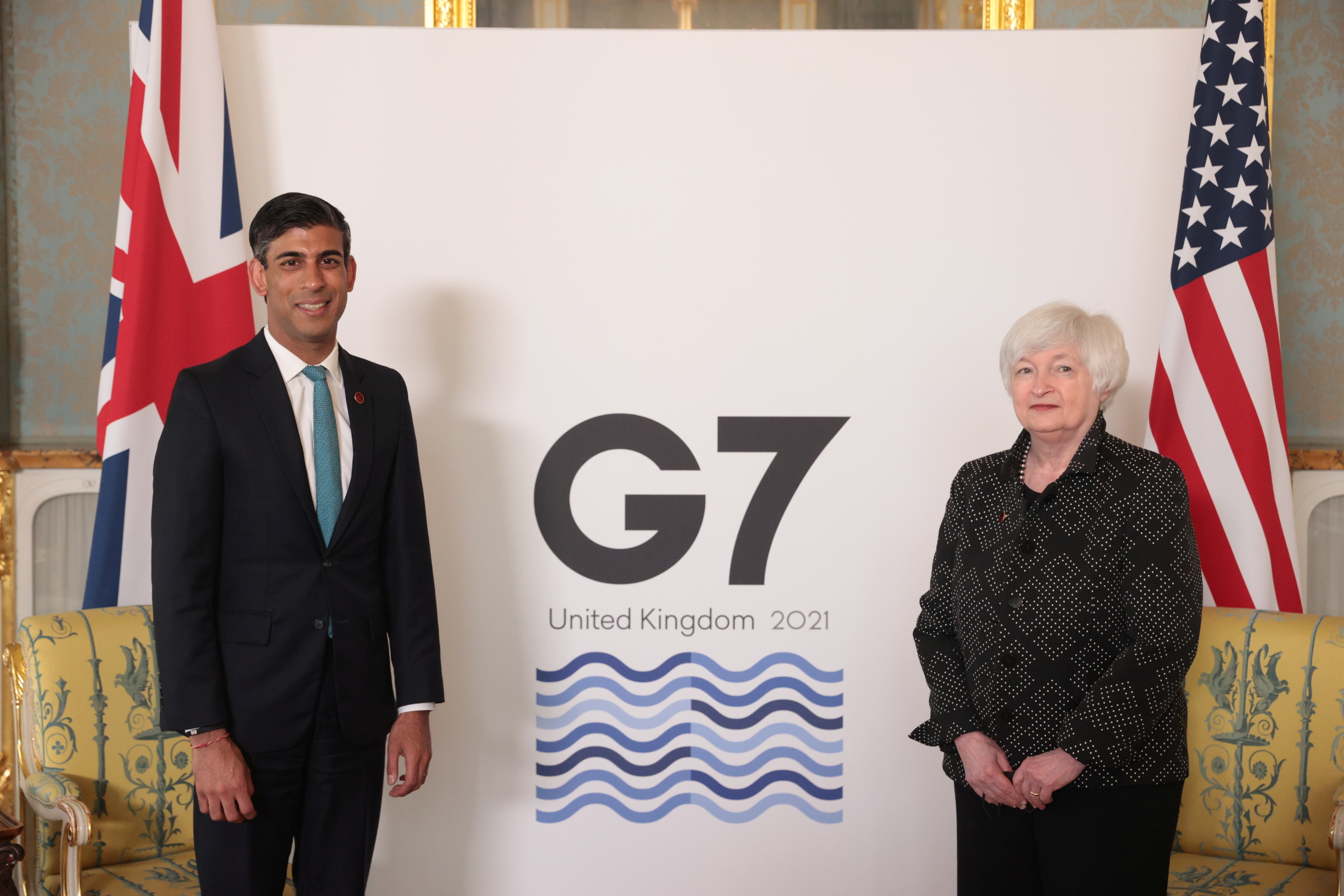 Thủ tướng Anh Rishi Sunak gặp Bộ trưởng Tài chính Hoa Kỳ Janet Yellen, tại London, Anh ngày 3 tháng 6 năm 2021. REUTERS / Hannah McKay / Pool