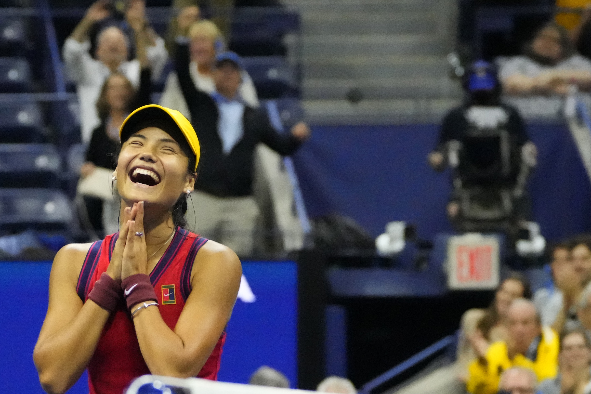 Sep 9, 2021; Flushing, NY, USA; Emma Raducanu of Great Britain celebrates after her match against Maria Sakkari of Greece (not pictured) on day eleven of the 2021 U.S. Open tennis tournament at USTA Billie Jean King National Tennis Center. Mandatory Credit: Robert Deutsch-USA TODAY Sports