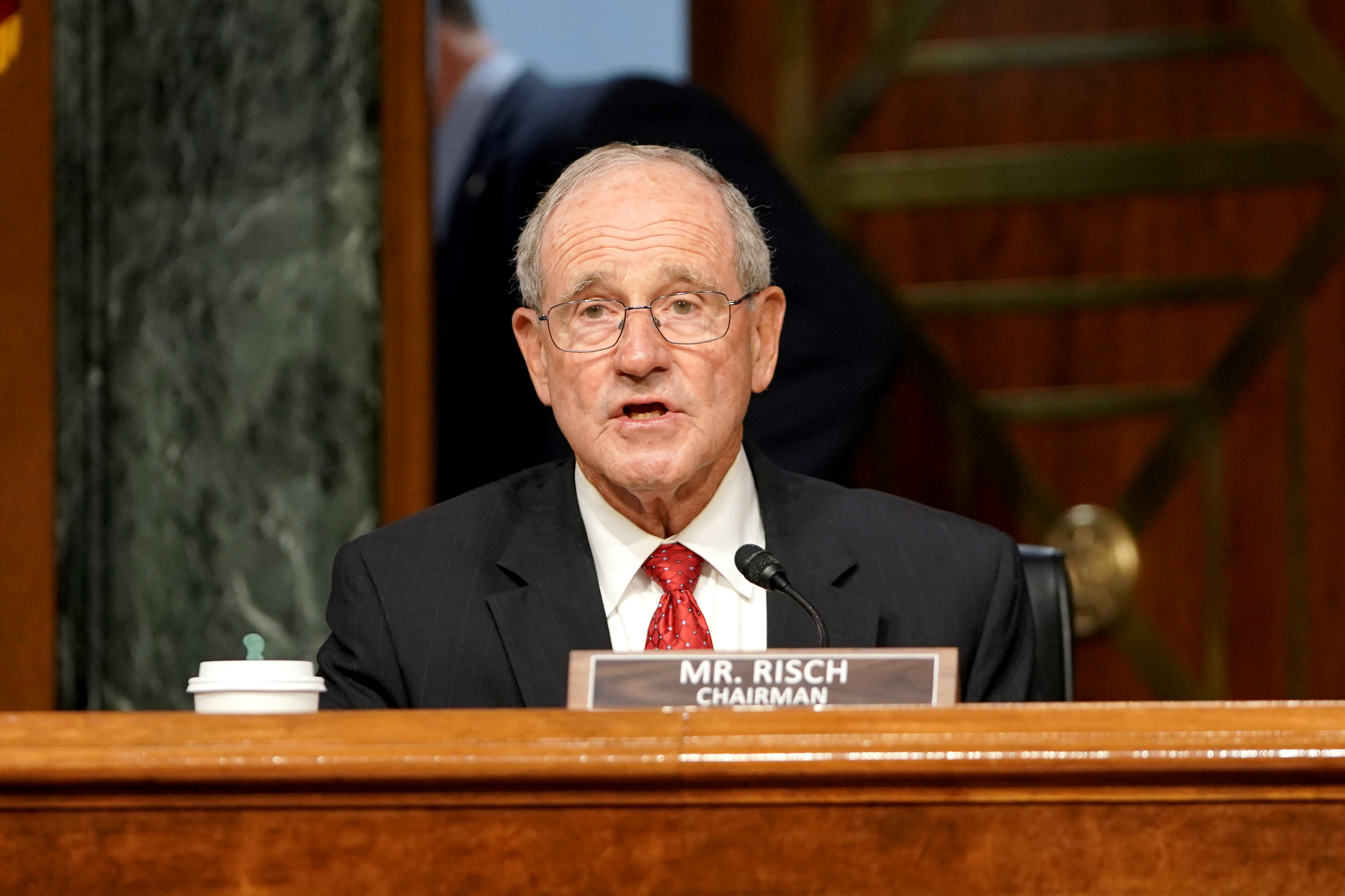 Committee chairman Jim Risch (R-ID) speaks during a Senate Foreign Relations Committee hearing in Washington, DC, U.S. July 30, 2020. Greg Nash/Pool via REUTERS