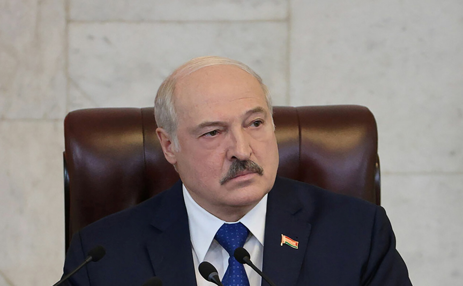 Belarusian President Alexander Lukashenko delivers a speech during a meeting with parliamentarians, members of the Constitutional Commission and representatives of public administration bodies, in Minsk, Belarus May 26, 2021. Press Service of the President of the Republic of Belarus/Handout via REUTERS