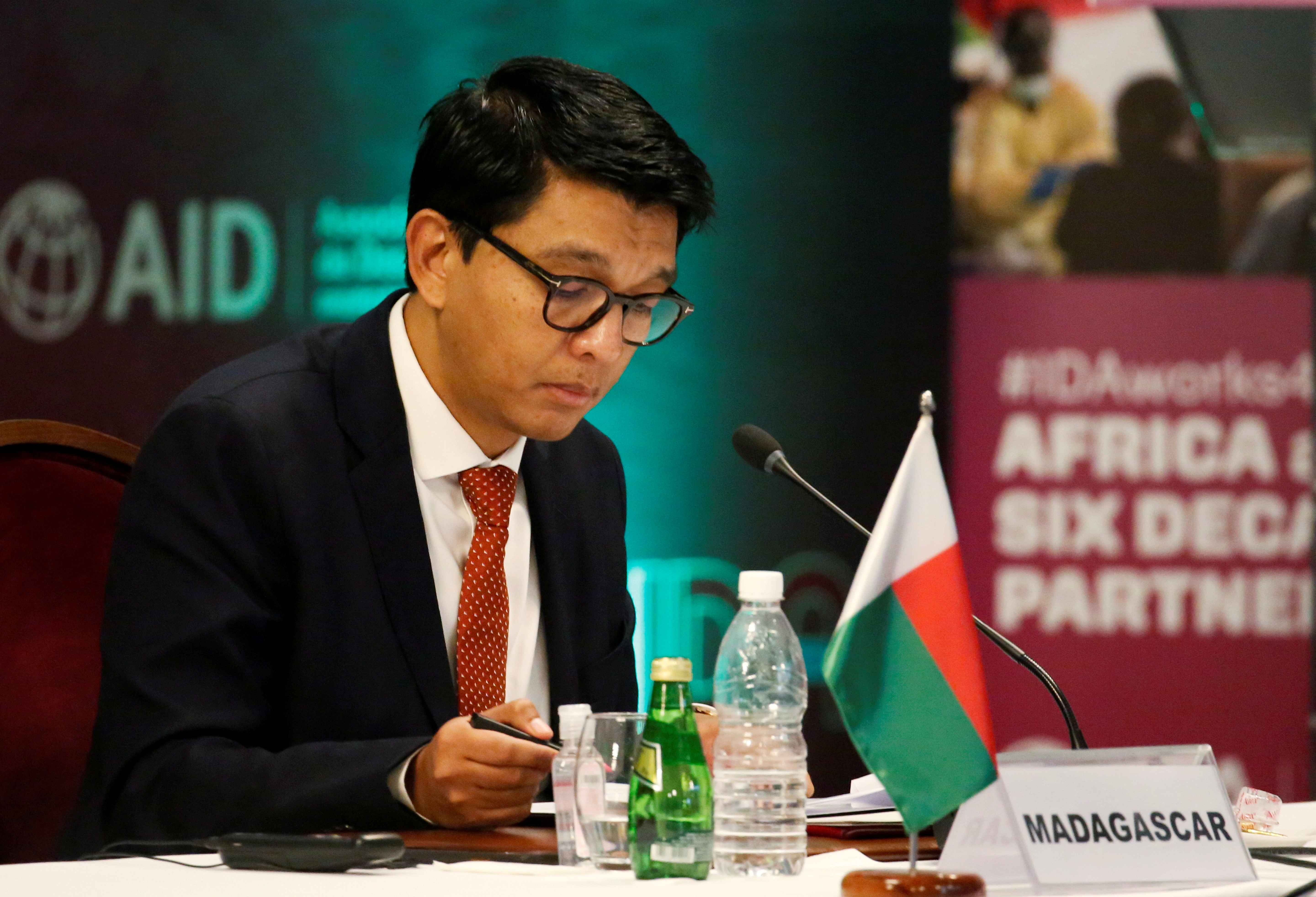 Madagascar's President Andry Rajoelina attends a meeting to discuss the 20th replenishment of the World Bank's International Development Association, in Abidjan, Ivory Coast July 15, 2021. REUTERS/Luc Gnago/File Photo