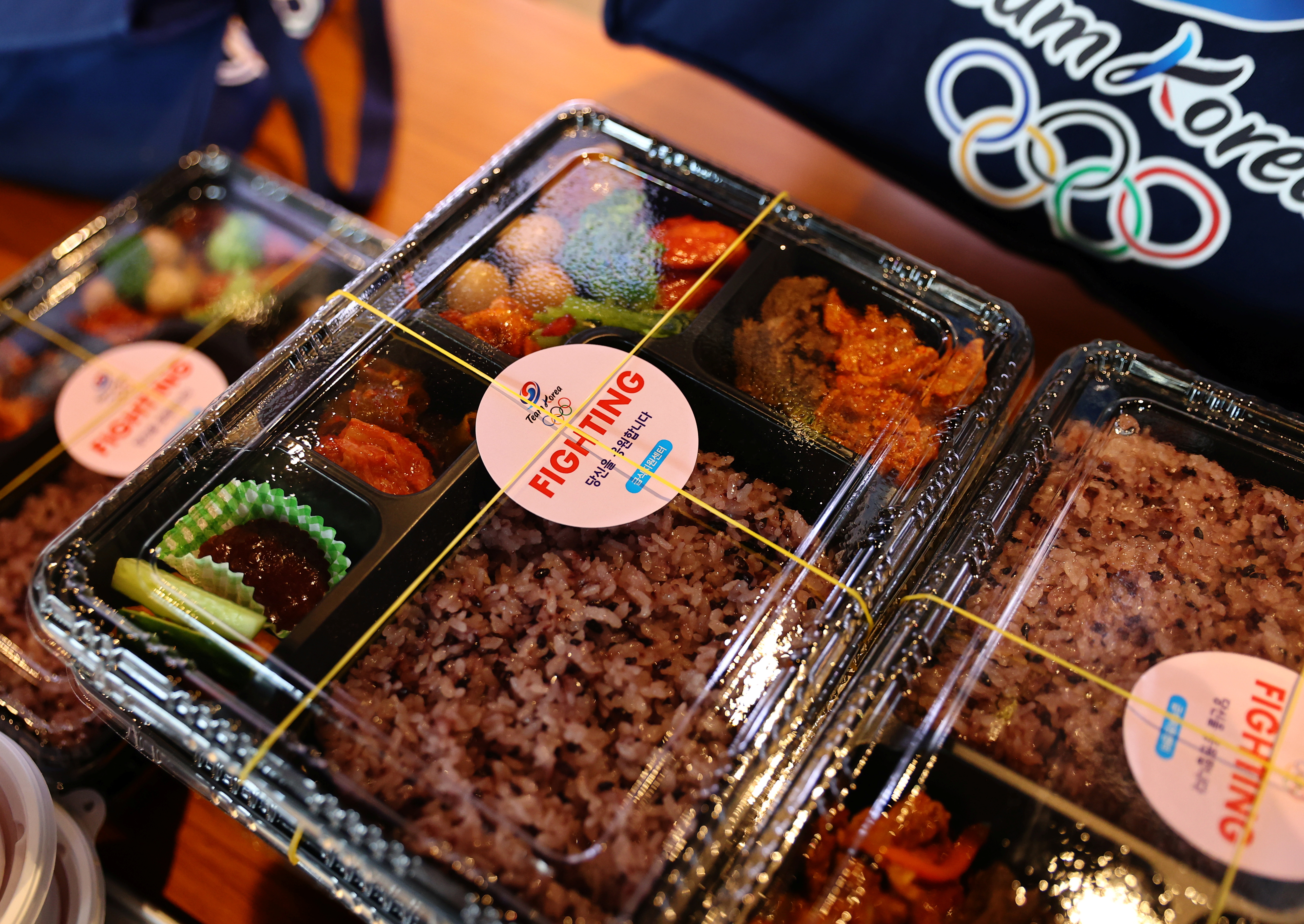 Boxed meals for South Korean Tokyo 2020 Olympic Games athletes are pictured at a hotel in Urayasu, Chiba Prefecture, Japan, July 26, 2021.   REUTERS/Kim Kyung-Hoon