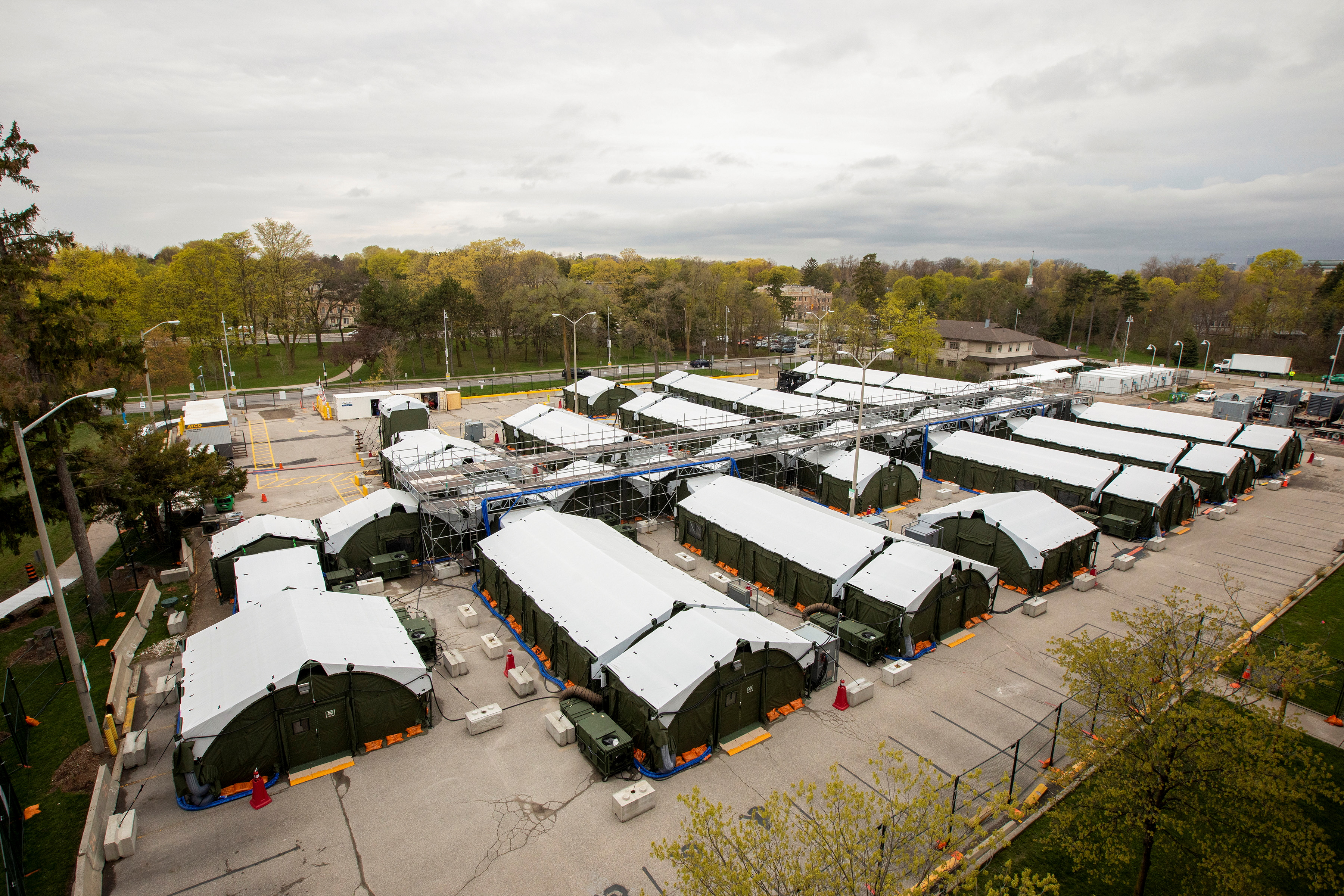 A general view of a field hospital set up to house patients recovering from coronavirus disease (COVID-19) at Sunnybrook Hospital in Toronto, Ontario, Canada April 28, 2021.  REUTERS/Carlos Osorio