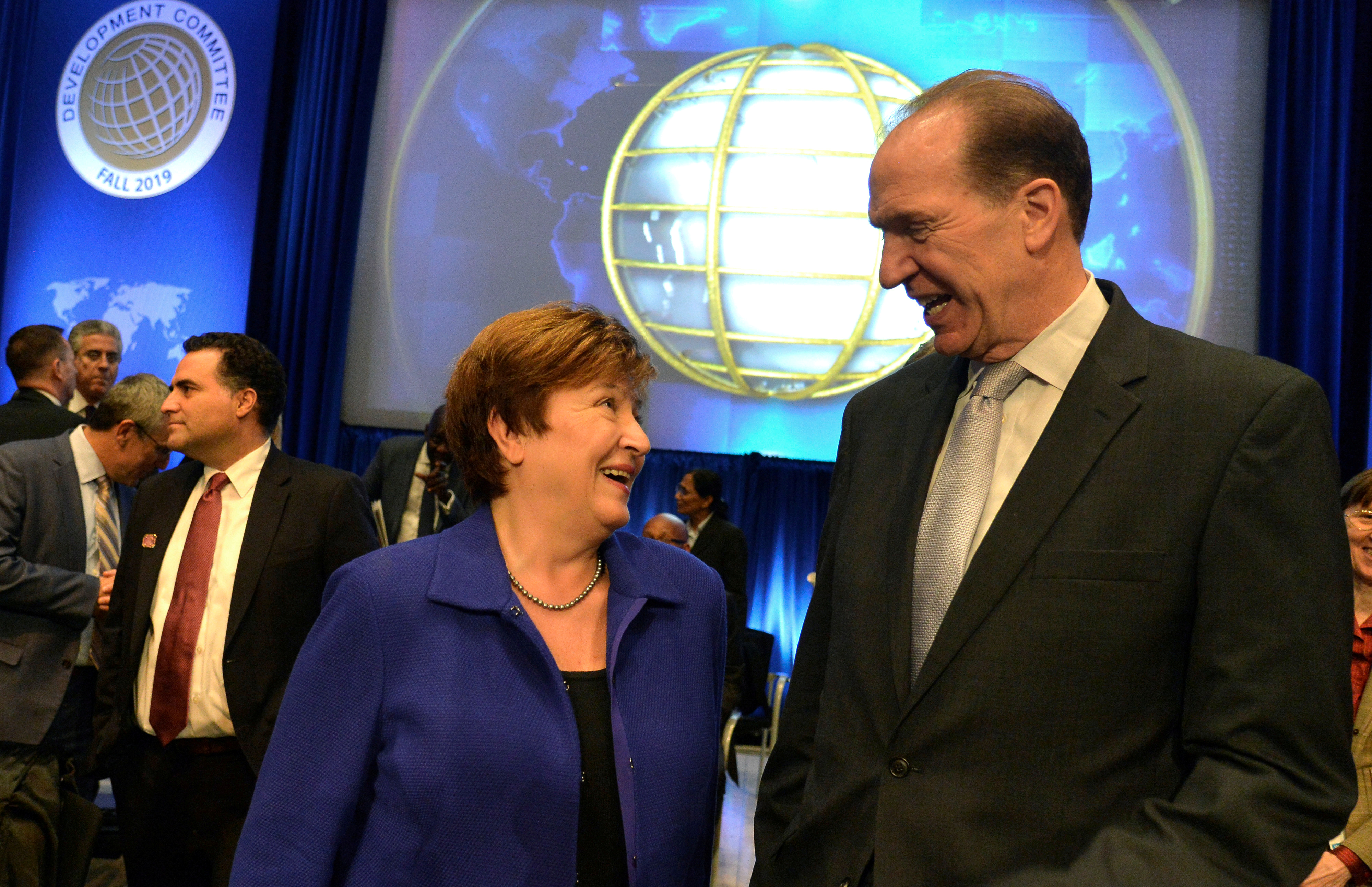 IMF Managing Director Kristalina Georgieva President David Malpass prior to a Development Committee meeting, during the IMF and World Bank's 2019 Annual Meetings of finance ministers and bank governors, in Washington, U.S., October 19, 2019. REUTERS/Mike Theiler/File Photo