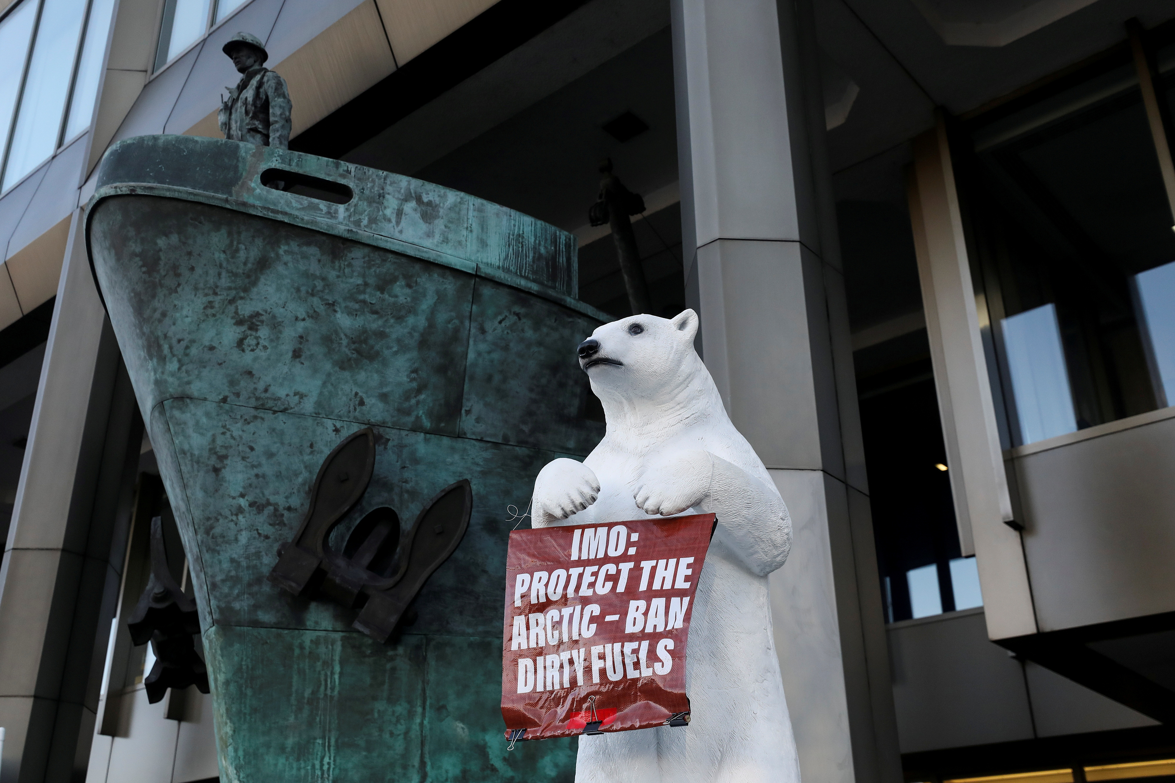 Extinction Rebellion and Ecohustler protest against the shipping industry outside the International Maritime Organization in London, Britain February 17, 2020. REUTERS/Simon Dawson