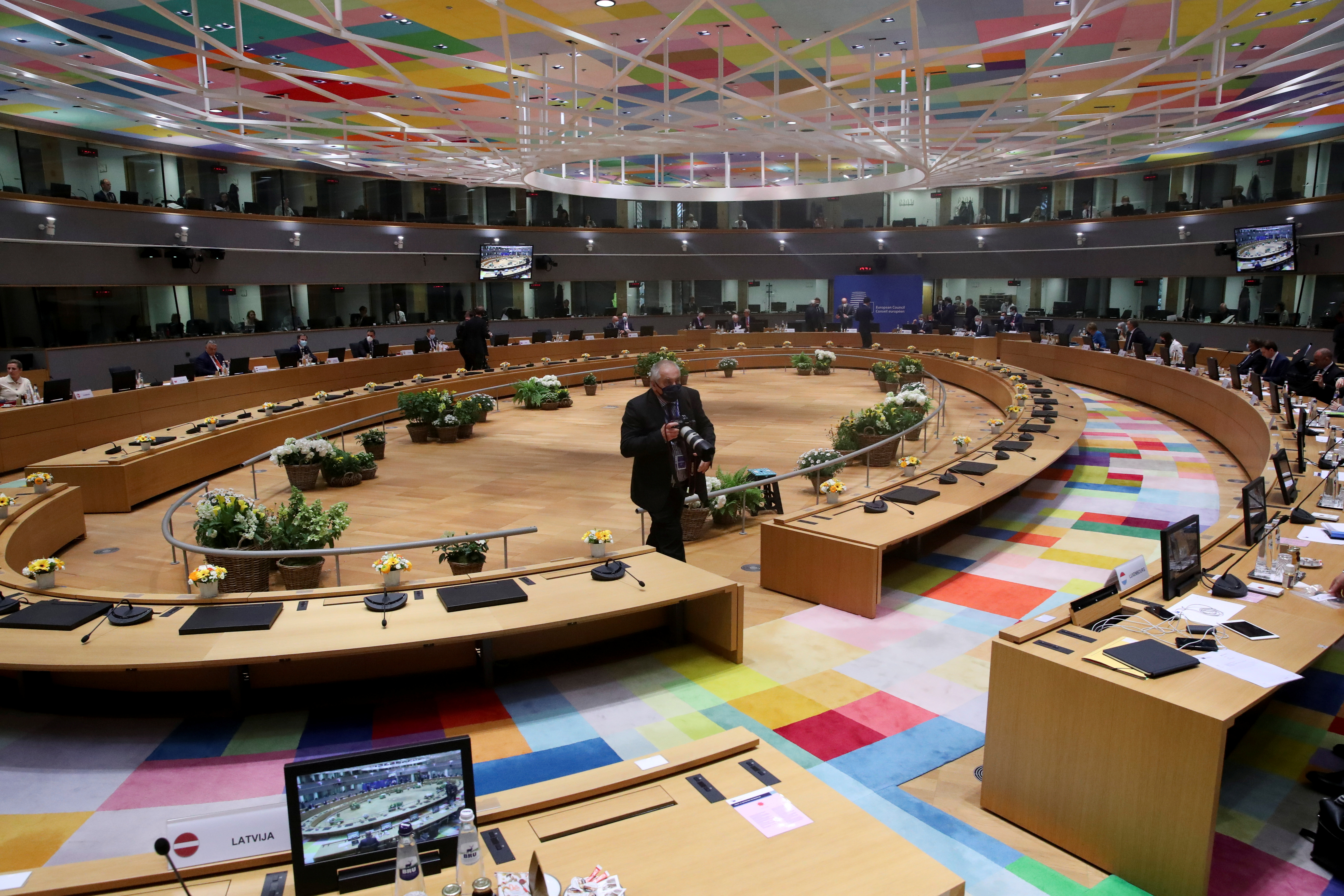 A general view of the conference room for the EU summit meeting, in Brussels, Belgium, May 24, 2021. REUTERS/Yves Herman/Pool