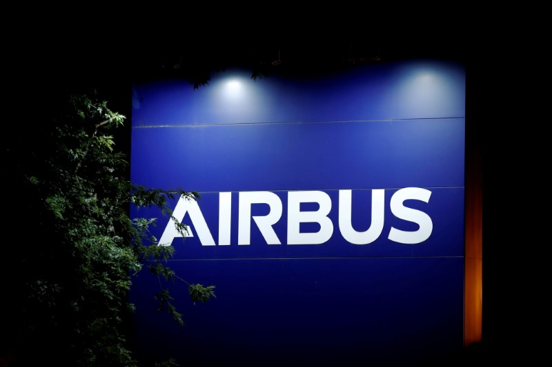 A logo of Airbus is seen at the entrance of its factory in Blagnac near Toulouse, France July 2, 2020. REUTERS/Benoit Tessier/File Photo