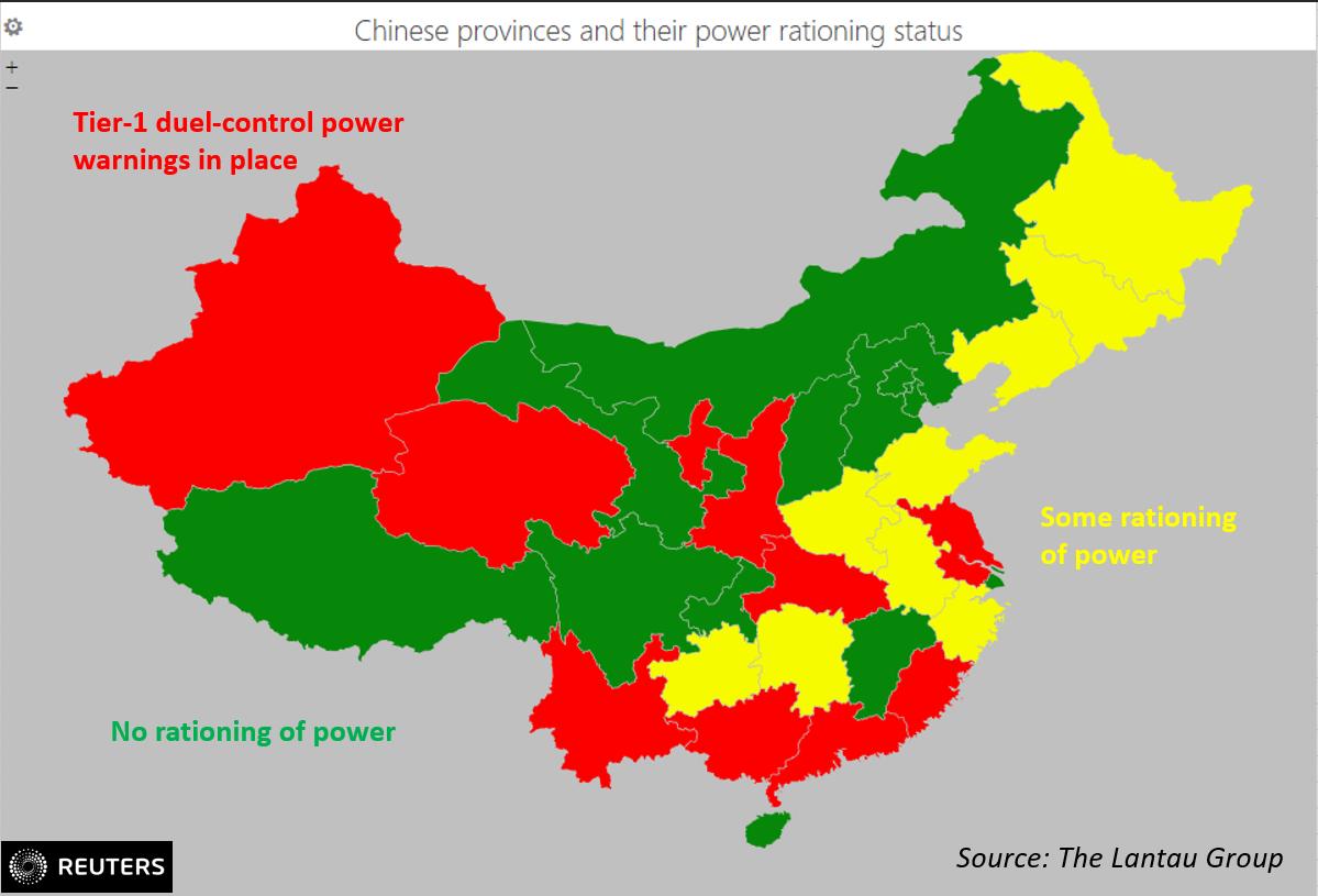 Energy rationing map of China's provinces