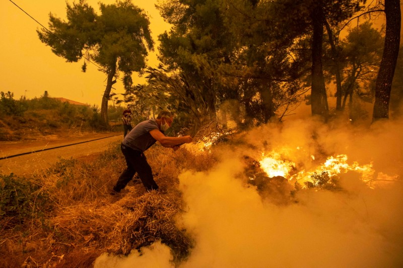 A man uses a tree branch to extinguish a wildfire burning in the village of Pefki, on the island of Evia, Greece, August 8, 2021. REUTERS/Nikolas Economou