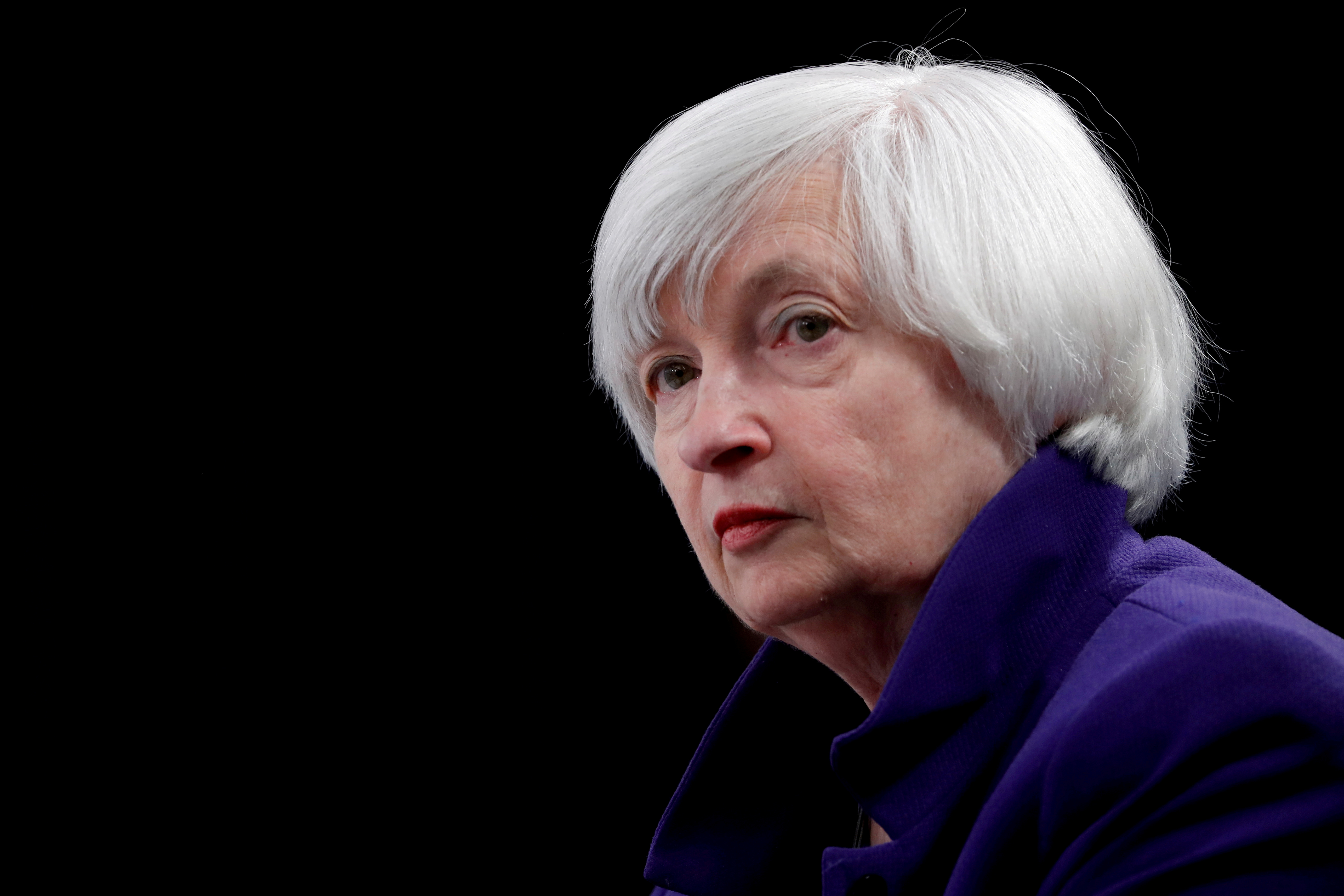U.S. Treasury Secretary Janet Yellen, the former Federal Reserve chair, holds a news conference after a two-day Federal Open Market Committee (FOMC) meeting in Washington, U.S. December 13, 2017.  REUTERS/Jonathan Ernst/File Photo