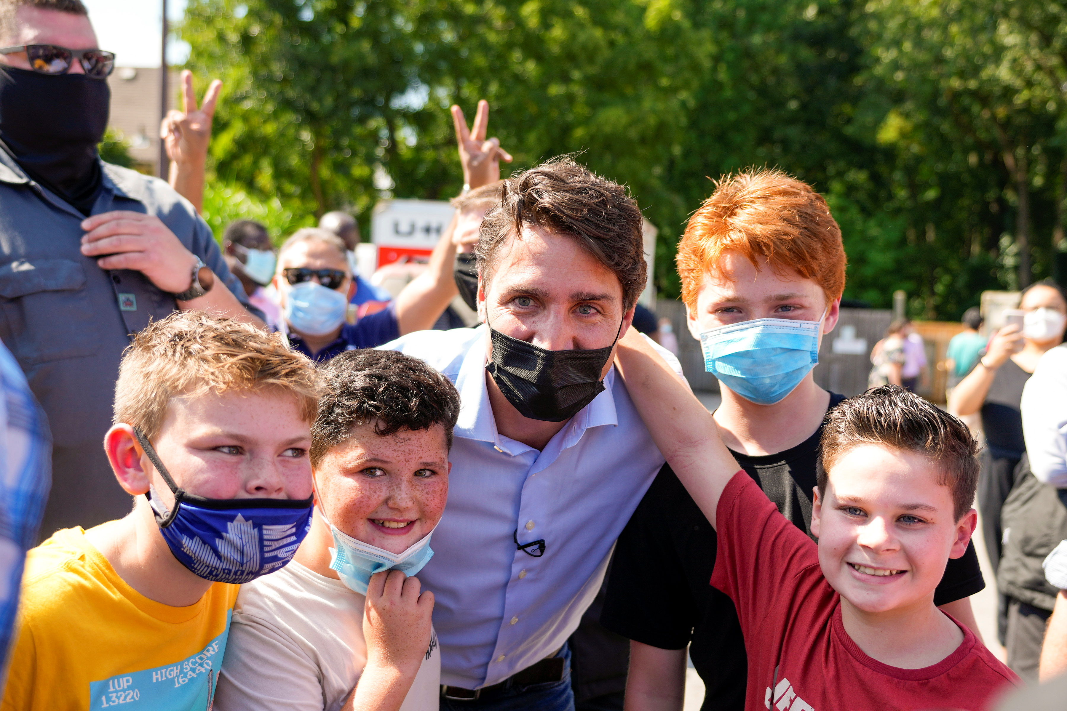 Canada's Liberal Prime Minister Justin Trudeau poses during an election campaign stop in London, Ontario Canada September 17, 2021. REUTERS/Carlos Osorio