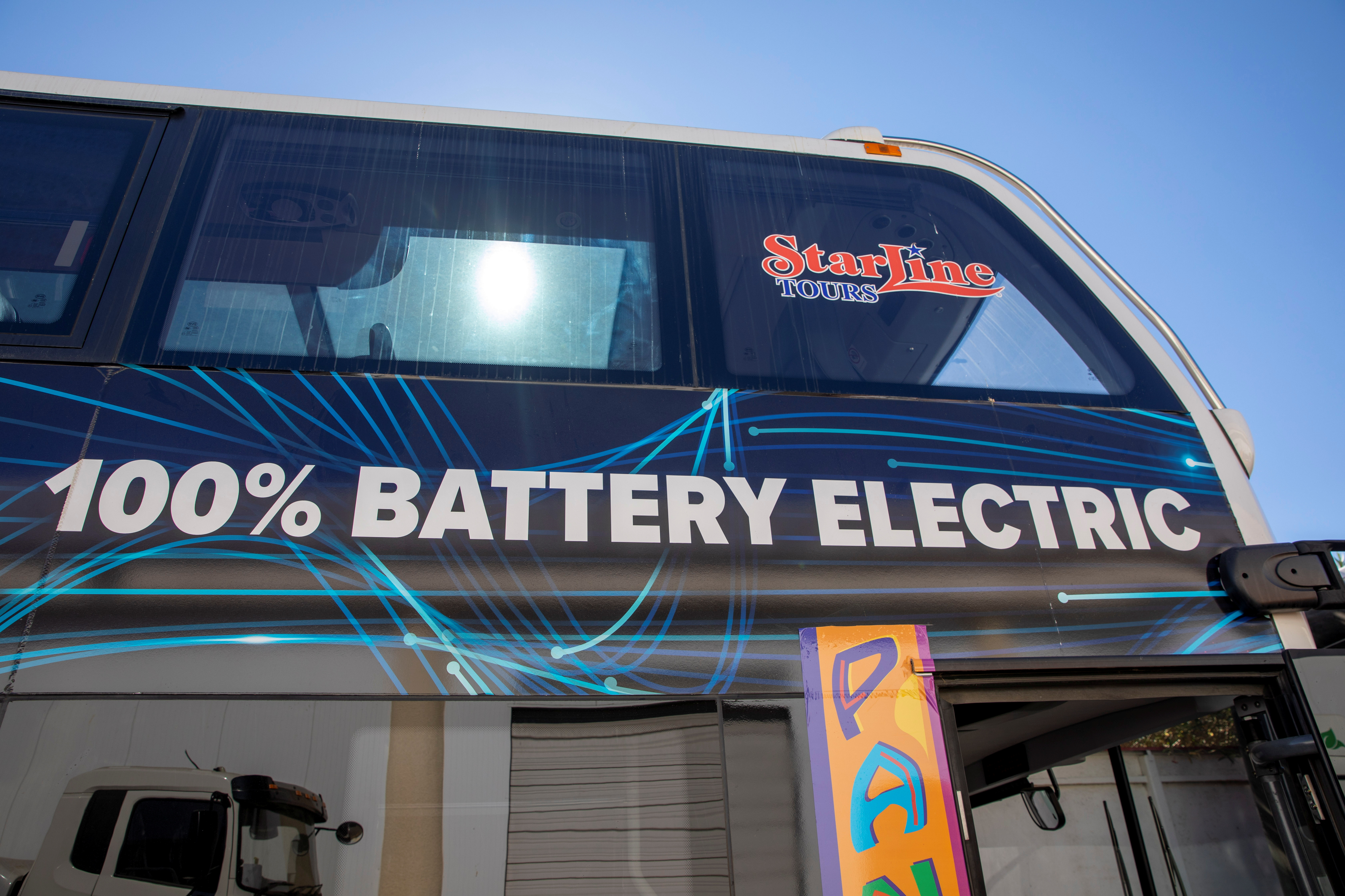 A double deck bus is shown ready for deliver at the BYD electric bus factory in Lancaster, California, U.S., July 1, 2021. Picture taken July 1, 2021.   REUTERS/Mike Blake