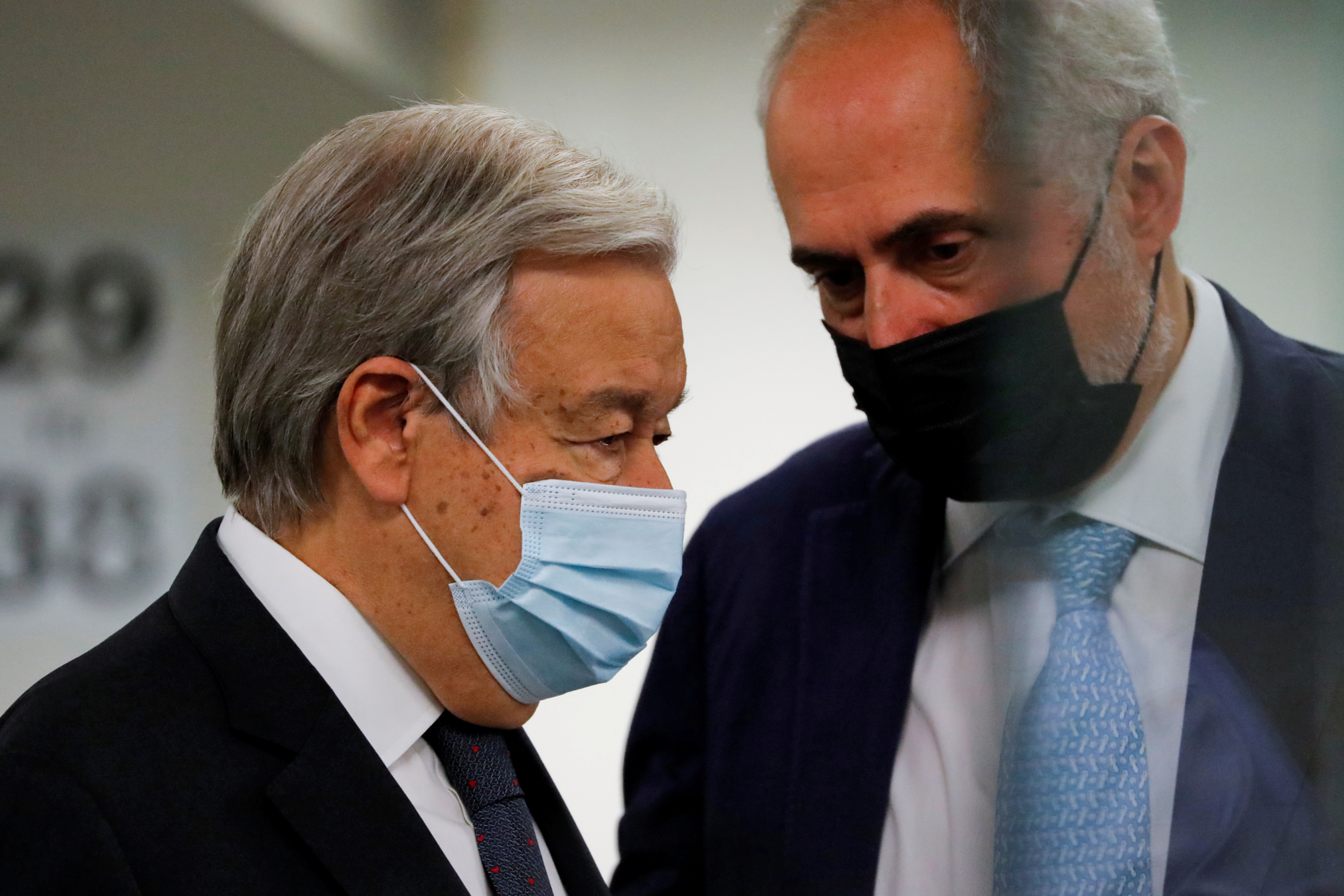 United Nations Secretary-General Antonio Guterres (L) arrives for the United Nations Security Council meets regarding the situation in Afghanistan at the United Nations in New York City, New York, U.S., August 16, 2021. REUTERS/Andrew Kelly