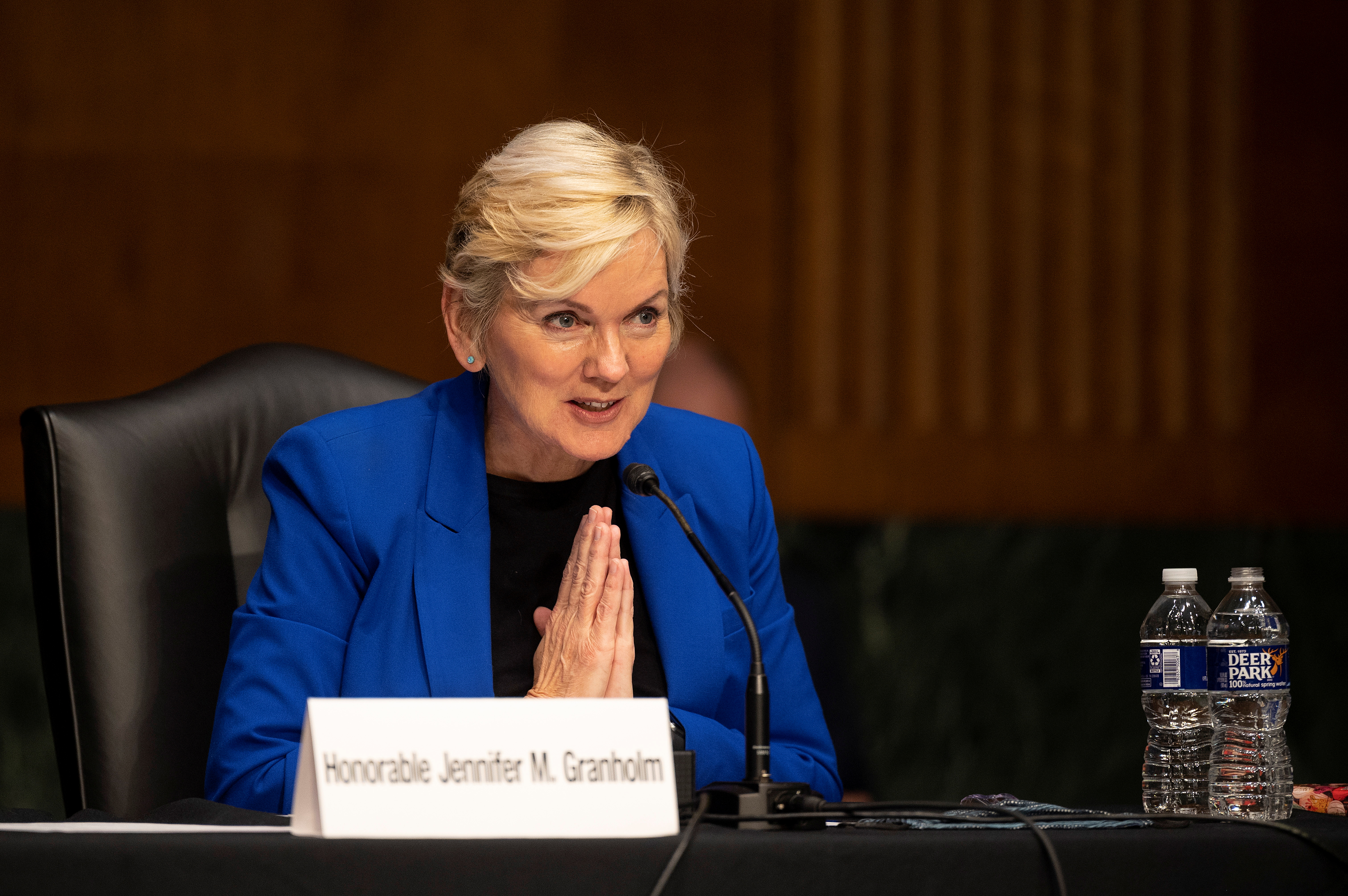 Former Michigan Governor Jennifer Granholm thanks to the committee after testifying before the Senate Energy and Natural Resources Committee during a hearing to examine her nomination to be Secretary of Energy, on Capitol Hill in Washington, D.C., U.S., January 27, 2021. Jim Watson/Pool via REUTERS