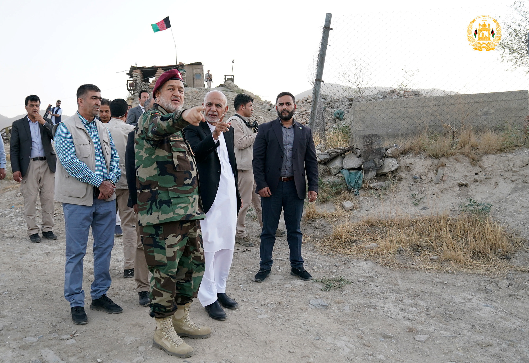 Afghanistan's President Ashraf Ghani and acting defence minister Bismillah Khan Mohammadi visit military corps in Kabul, Afghanistan August 14, 2021. Afghan Presidential Palace/Handout via REUTERS