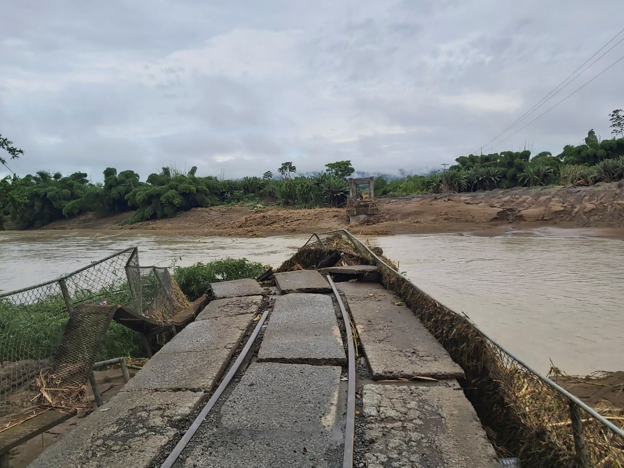 A view of the Atalanta railroad bridge damaged by floods due to heavy rains in Limon, Costa Rica July 26, 2021. Costa Rica's Presidency/Handout via REUTERS