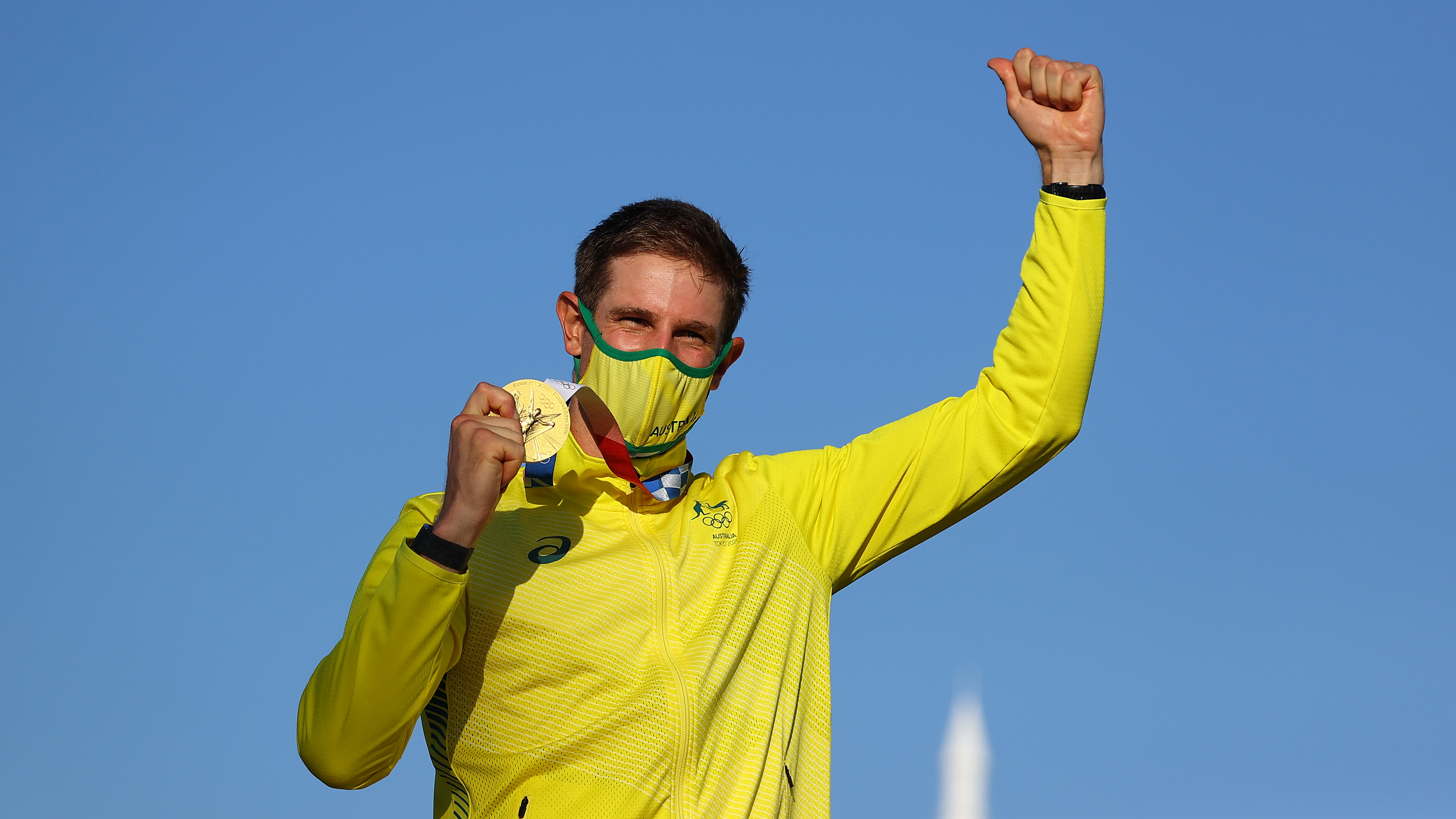 Tokyo 2020 Olympics - Sailing - Men's Laser - Medal Ceremony - Enoshima Yacht Harbour - Tokyo, Japan - August 1, 2021. Gold medallist Matthew Wearn of Australia celebrates on the podium. REUTERS/Carlos Barria