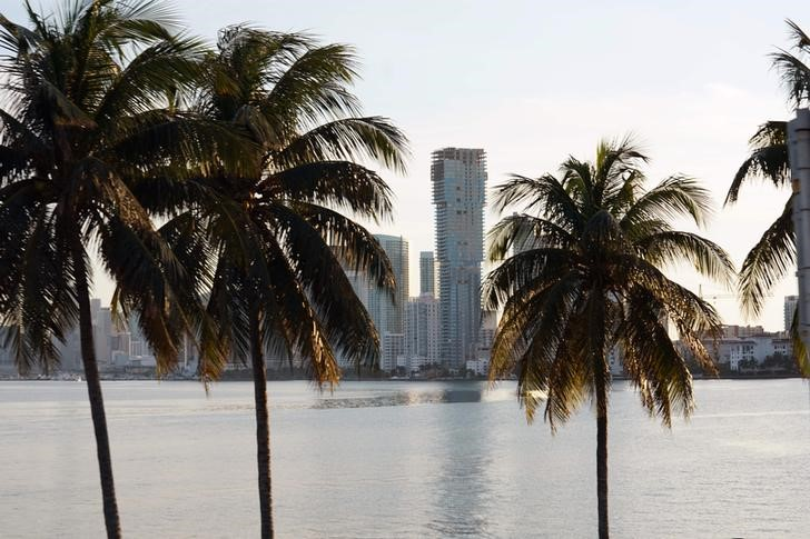 Jan 30, 2020; Miami, Florida, USA; General overall view of palm trees and the downtown Miami skyline. Mandatory Credit: Kirby Lee-USA TODAY Sports