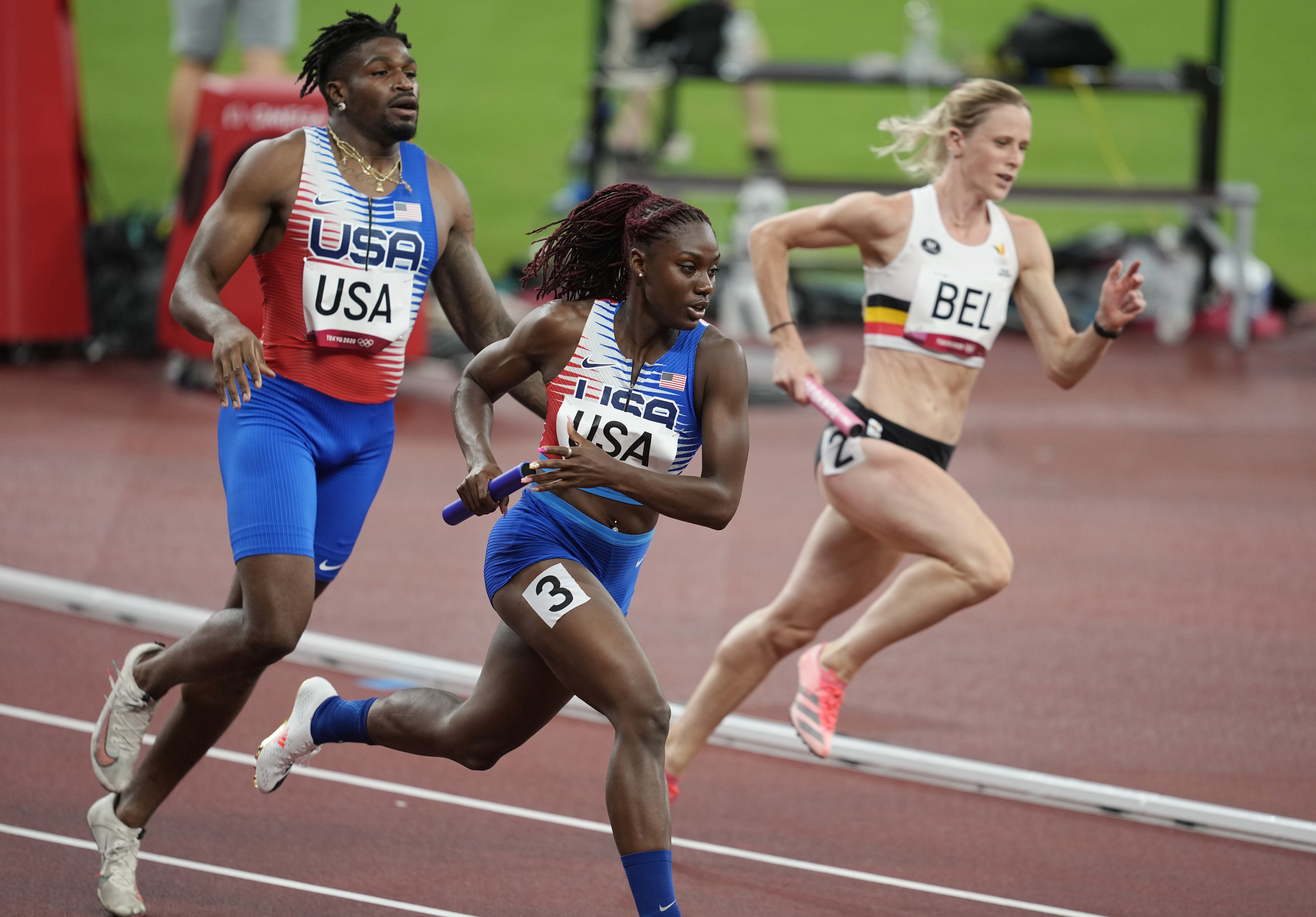 Jul 30, 2021; Tokyo, Japan; Lynna Irby (USA) competes in the 4x400 relay mixed qualification round 1 heat 1during the Tokyo 2020 Olympic Summer Games at Olympic Stadium. Mandatory Credit: Andrew Nelles-USA TODAY Sports