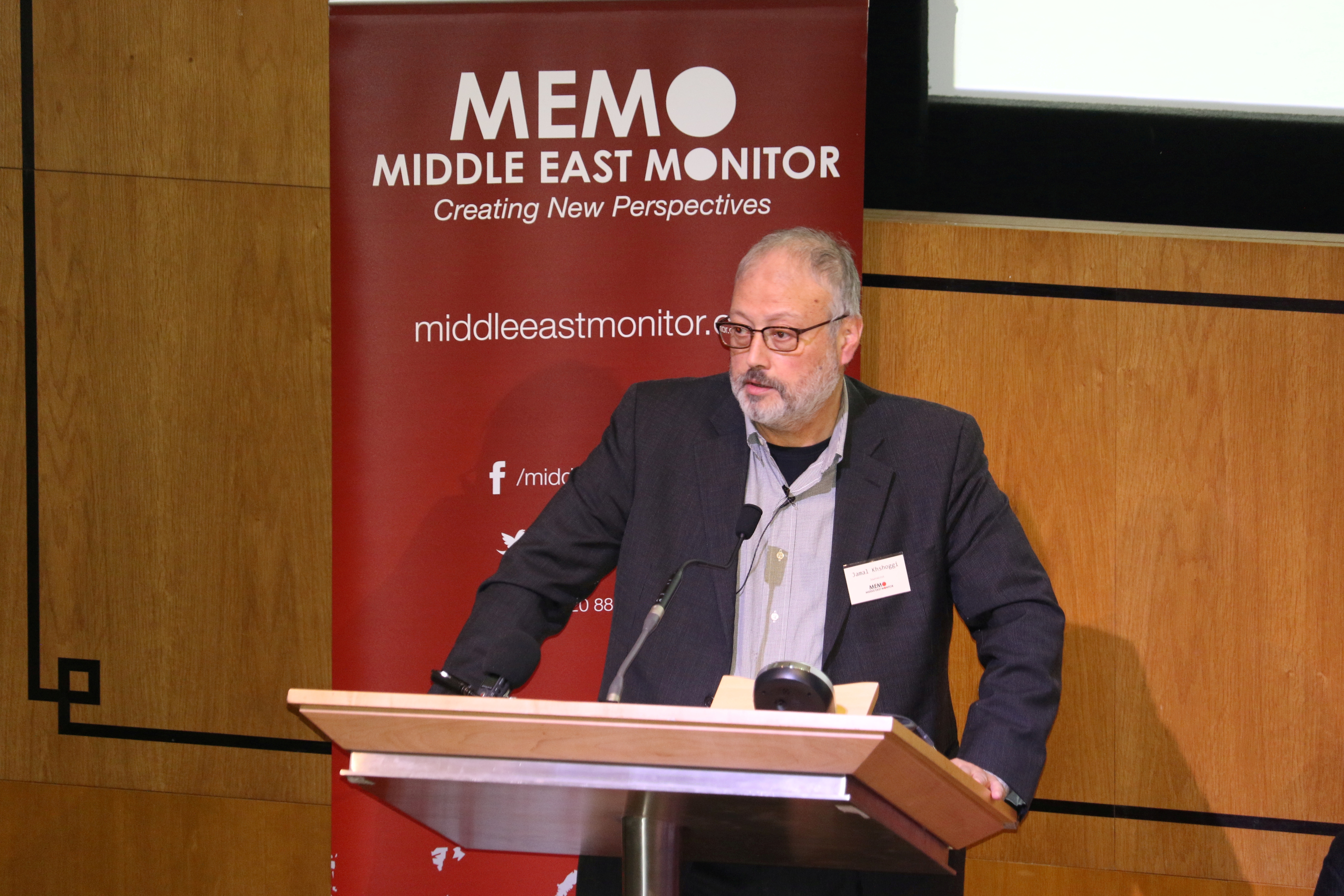 Saudi dissident Jamal Khashoggi speaks at an event hosted by Middle East Monitor in London Britain, September 29, 2018.    Middle East Monitor/Handout via REUTERS/File Photo