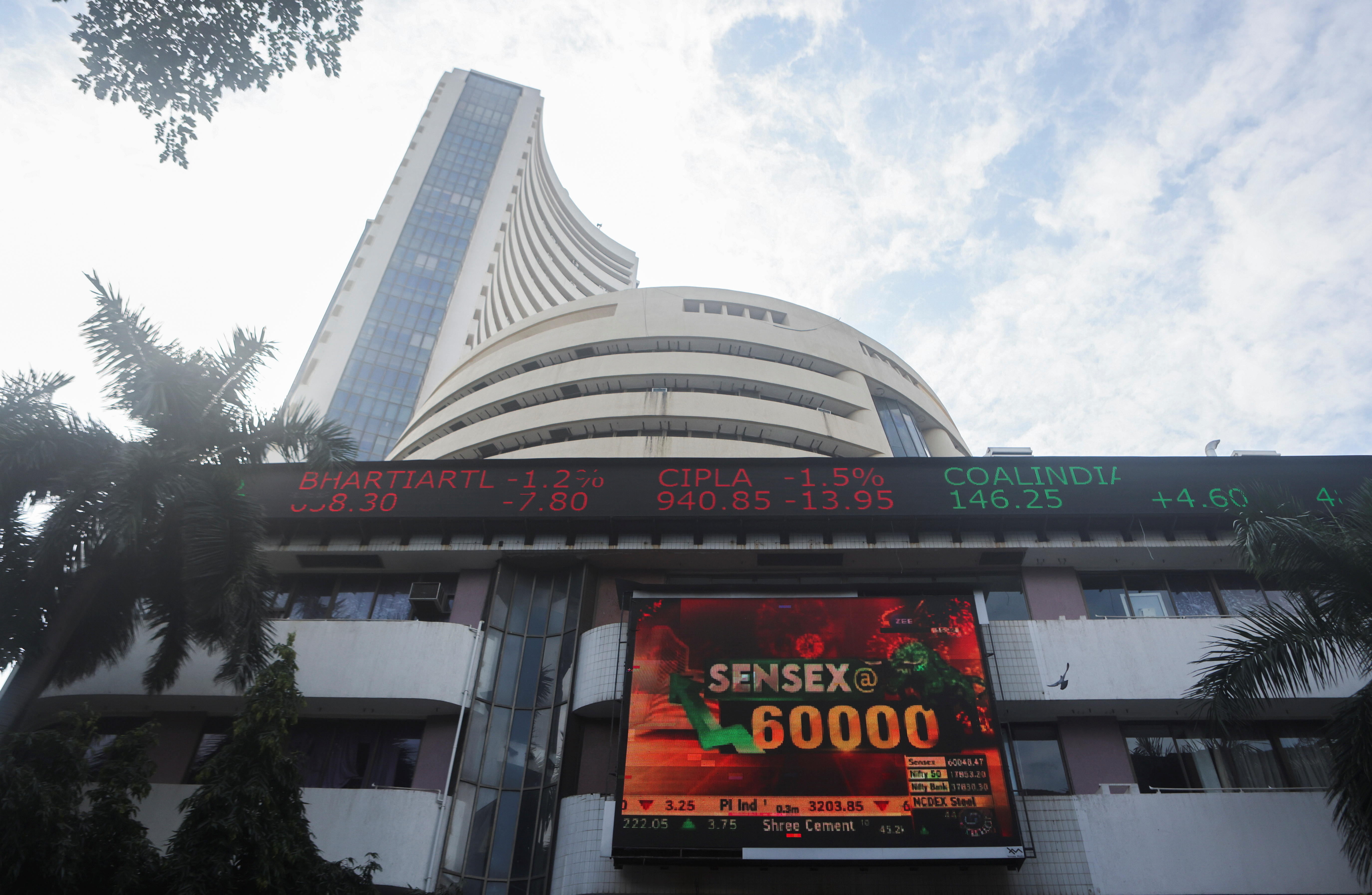 A general view of the Bombay Stock Exchange (BSE), after Sensex surpassed the 60,000 level for the first time, in Mumbai, India, September 24, 2021. REUTERS/Francis Mascarenhas