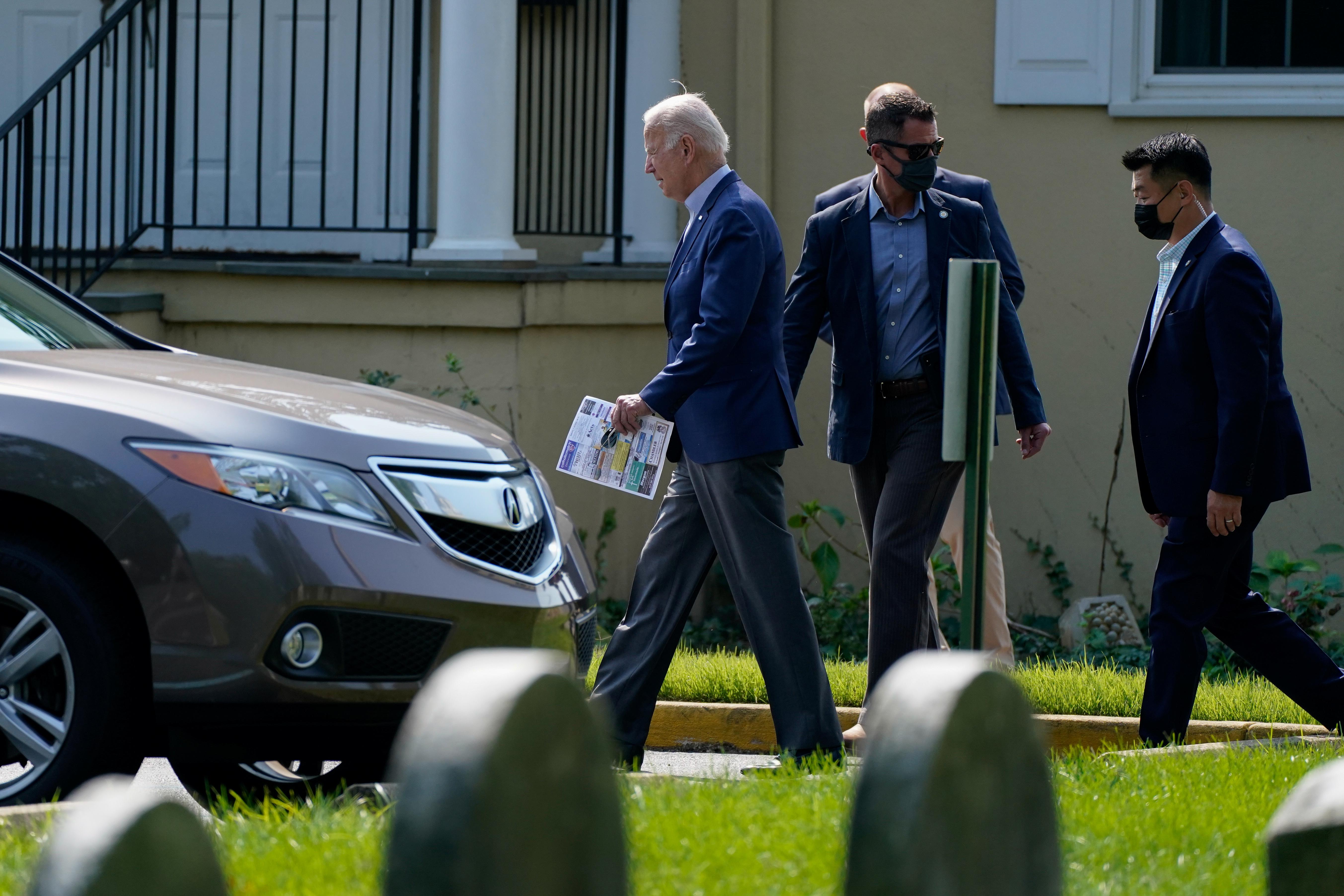 U.S. President Joe Biden leaves St. Joseph on the Brandywine Catholic Church after attending Mass in Wilmington, Delaware, U.S., September 12, 2021. REUTERS/Elizabeth Frantz