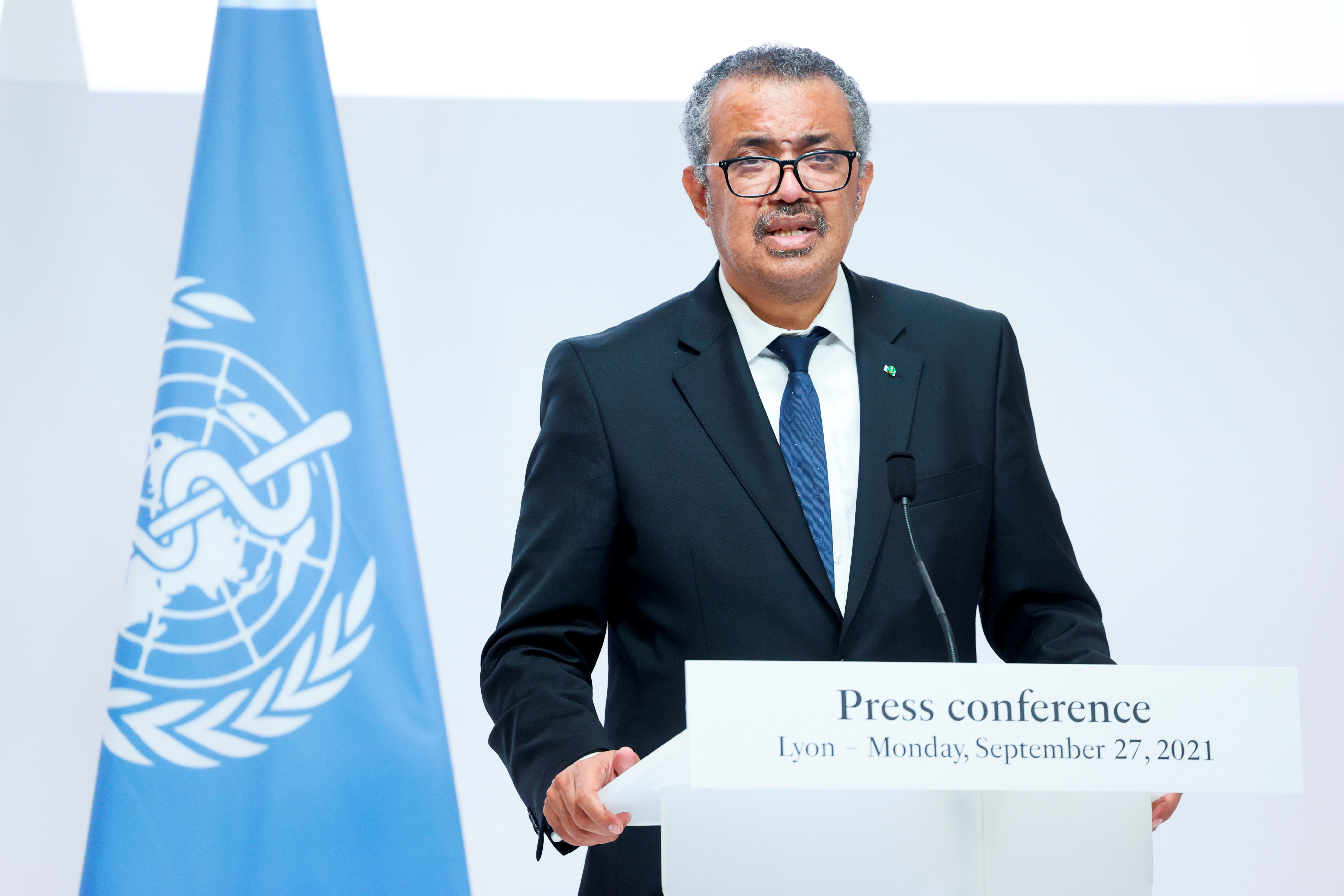 WHO Director-General Tedros Adhanom Ghebreyesus speaks during a news conference after a ceremony for the opening of the WHO Academy, in Lyon, France, September 27, 2021. REUTERS/Denis Balibouse