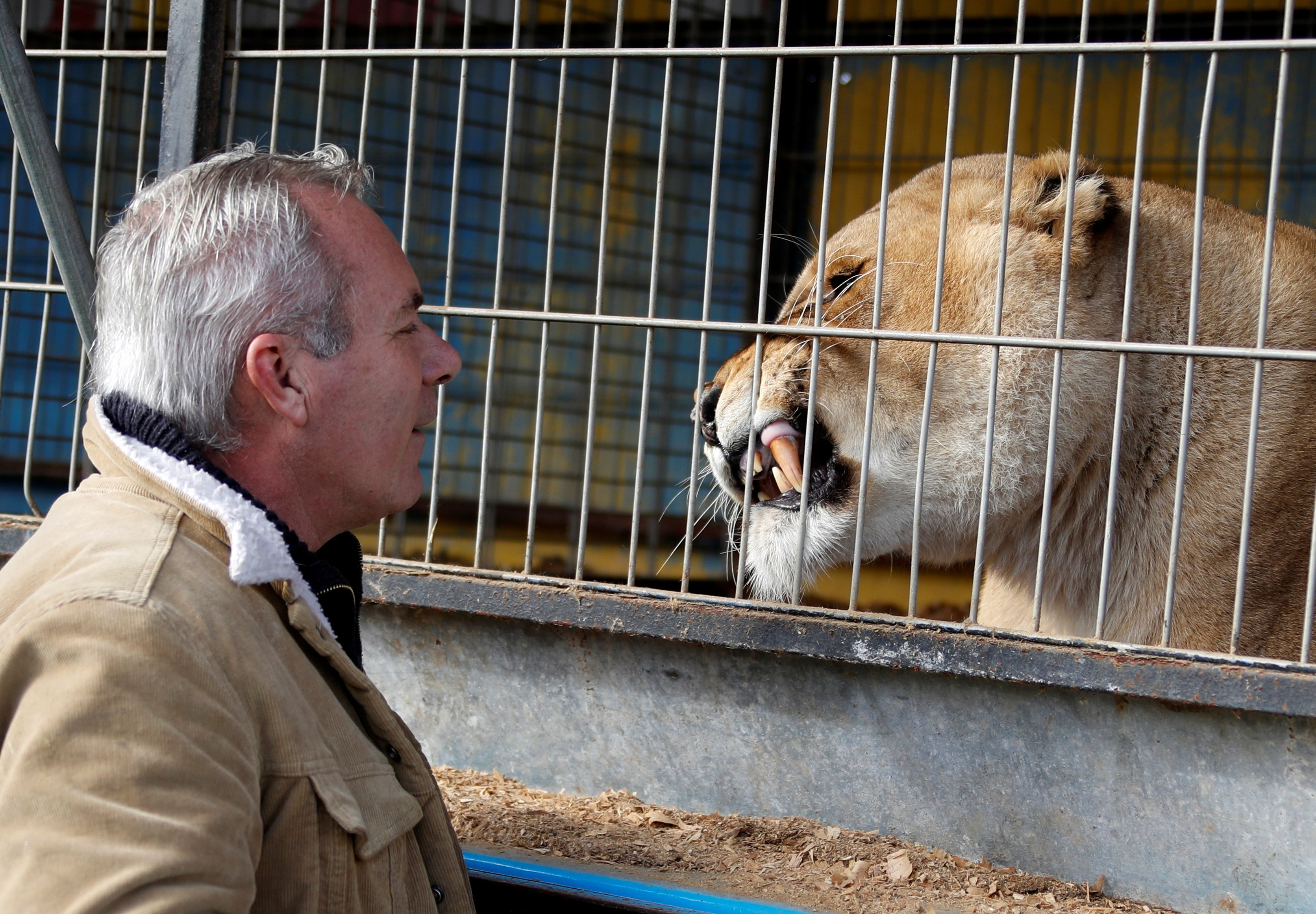 William Kerwich, owner of the Royal Circus and President of the Circus and Shows Animals Union, poses with a lion at the circus home base in Senas as circus shows remained shut as part of COVID-19 restrictions measures to fight the coronavirus disease outbreak in France, February 9, 2021. REUTERS/Eric Gaillard