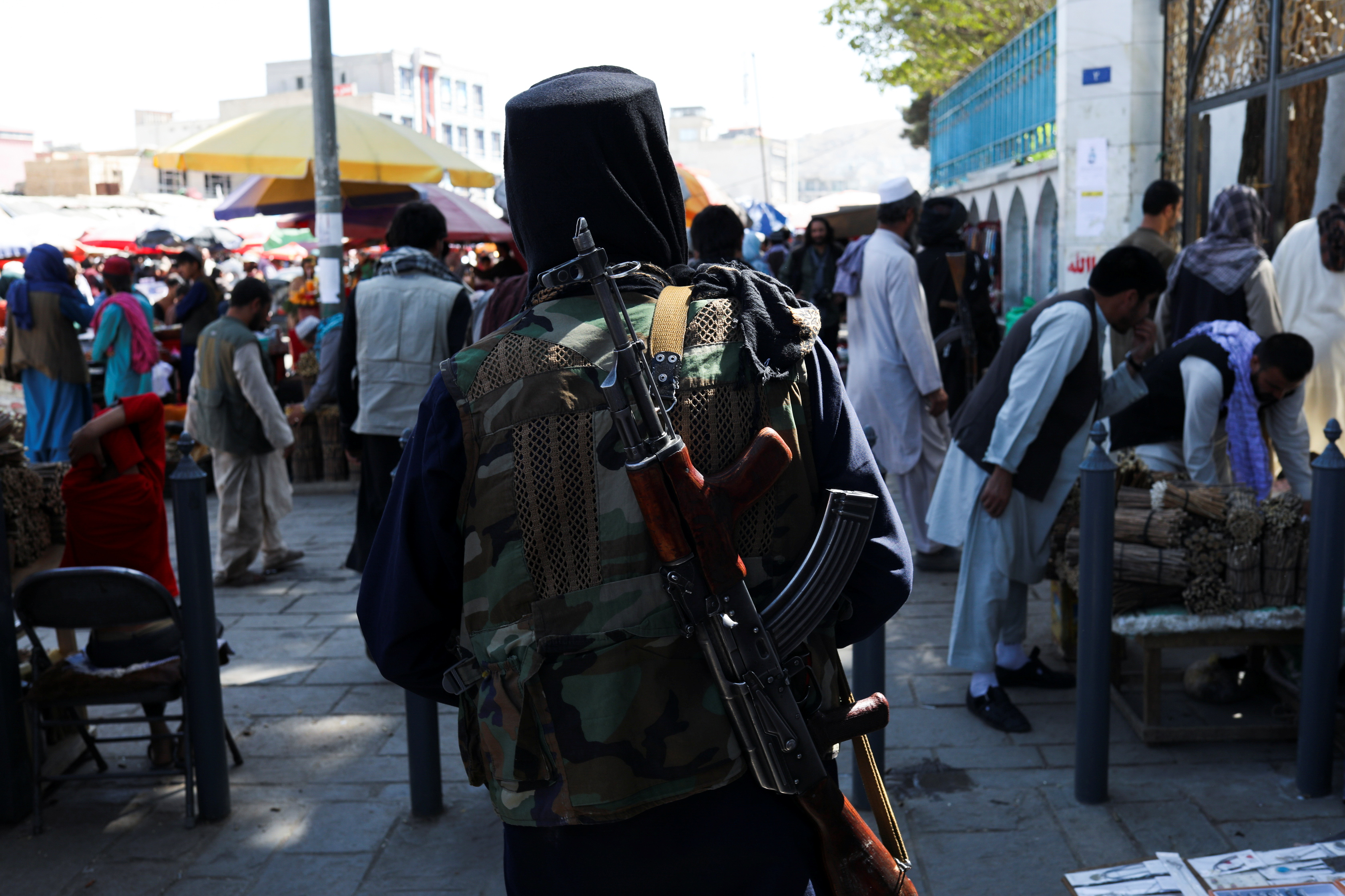 A Taliban soldier walks on a street in Kabul, Afghanistan, September 17, 2021. WANA (West Asia News Agency) via REUTERS