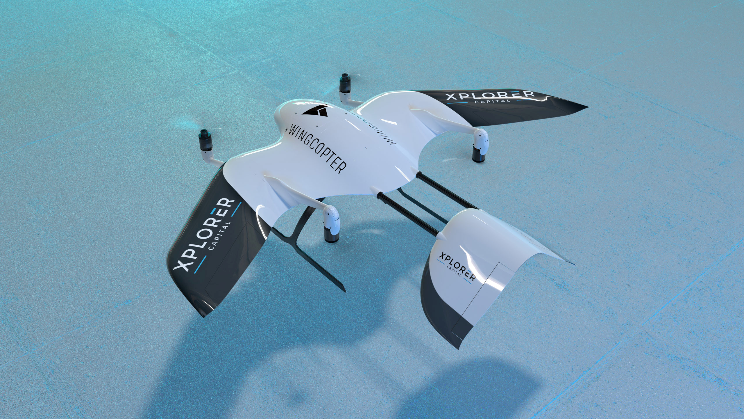 Rendered image of a drone made by German start-up Wingcopter in Weiterstadt, Germany, in this handout obtained on January 25, 2021. Wingcopter/Handout via REUTERS