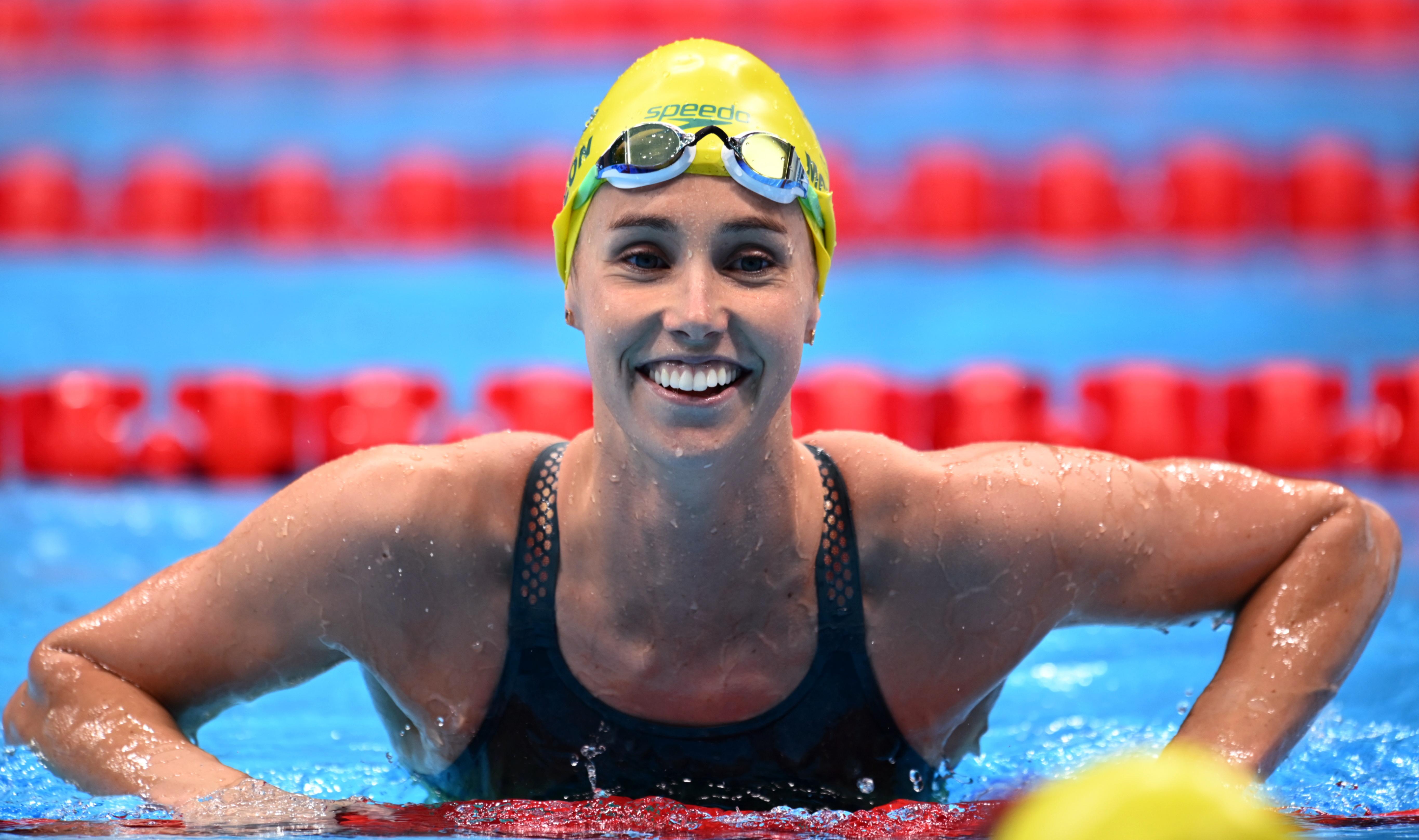 Tokyo 2020 Olympics - Swimming - Women's 50m Freestyle - Final - Tokyo Aquatics Centre - Tokyo, Japan - August 1, 2021. Emma McKeon of Australia reacts after race