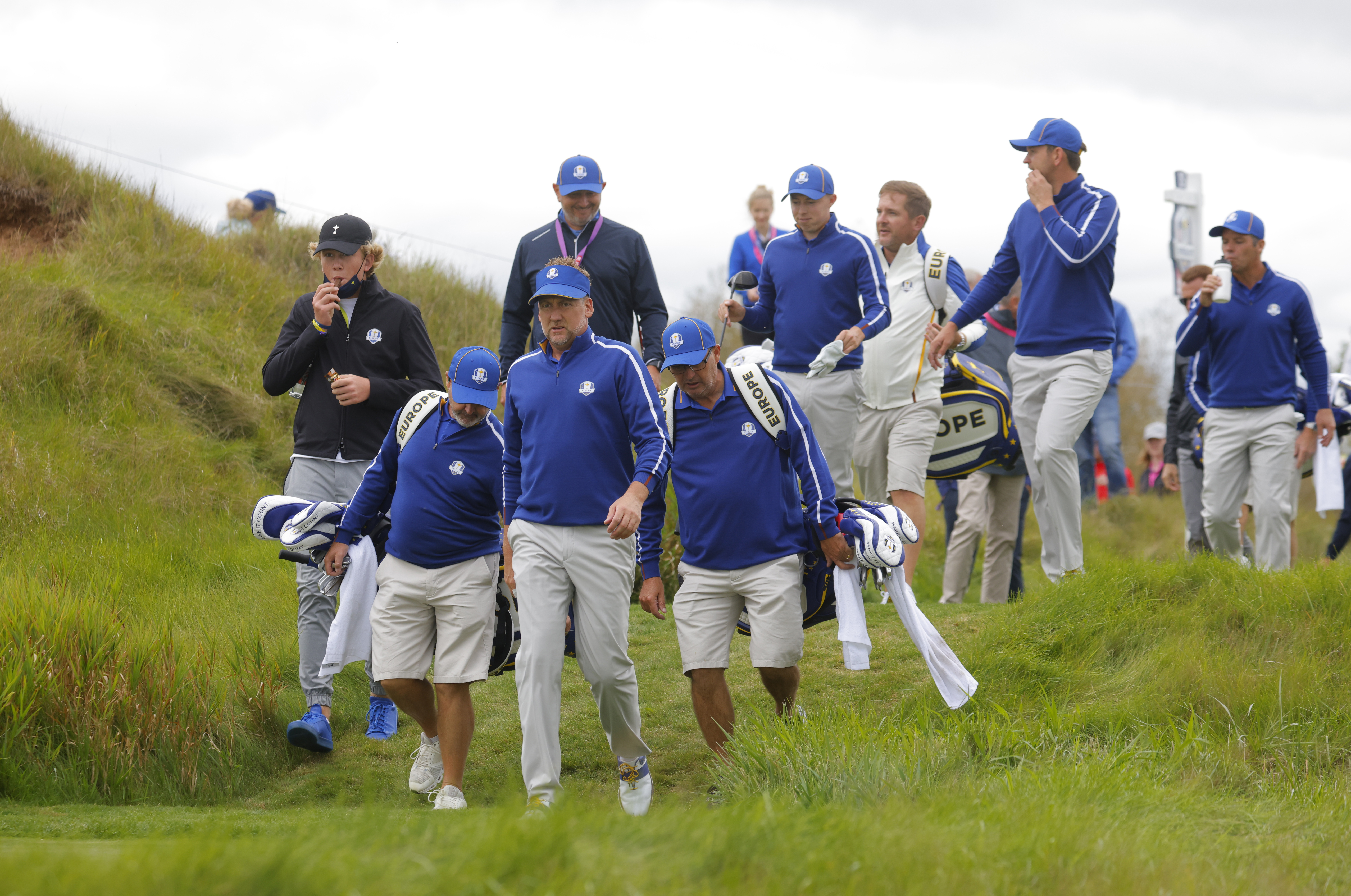 Golf - The 2020 Ryder Cup - Whistling Straits, Sheboygan, Wisconsin, U.S. - September 21, 2021 Team Europe's Ian Poulter, Team Europe's Paul Casey, Team Europe's Matthew Fitzpatrick and Team Europe's Bernd Wiesberger during a practice round REUTERS/Mike Segar