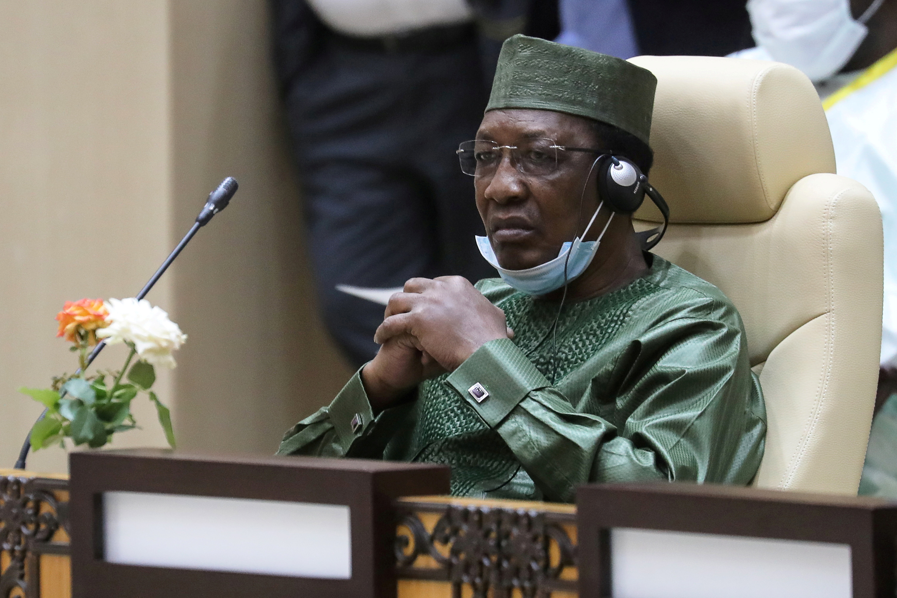 Chad's President Idriss Deby attends a working session of the G5 Sahel summit in Nouakchott, Mauritania, June 30, 2020. Ludovic Marin /Pool via REUTERS
