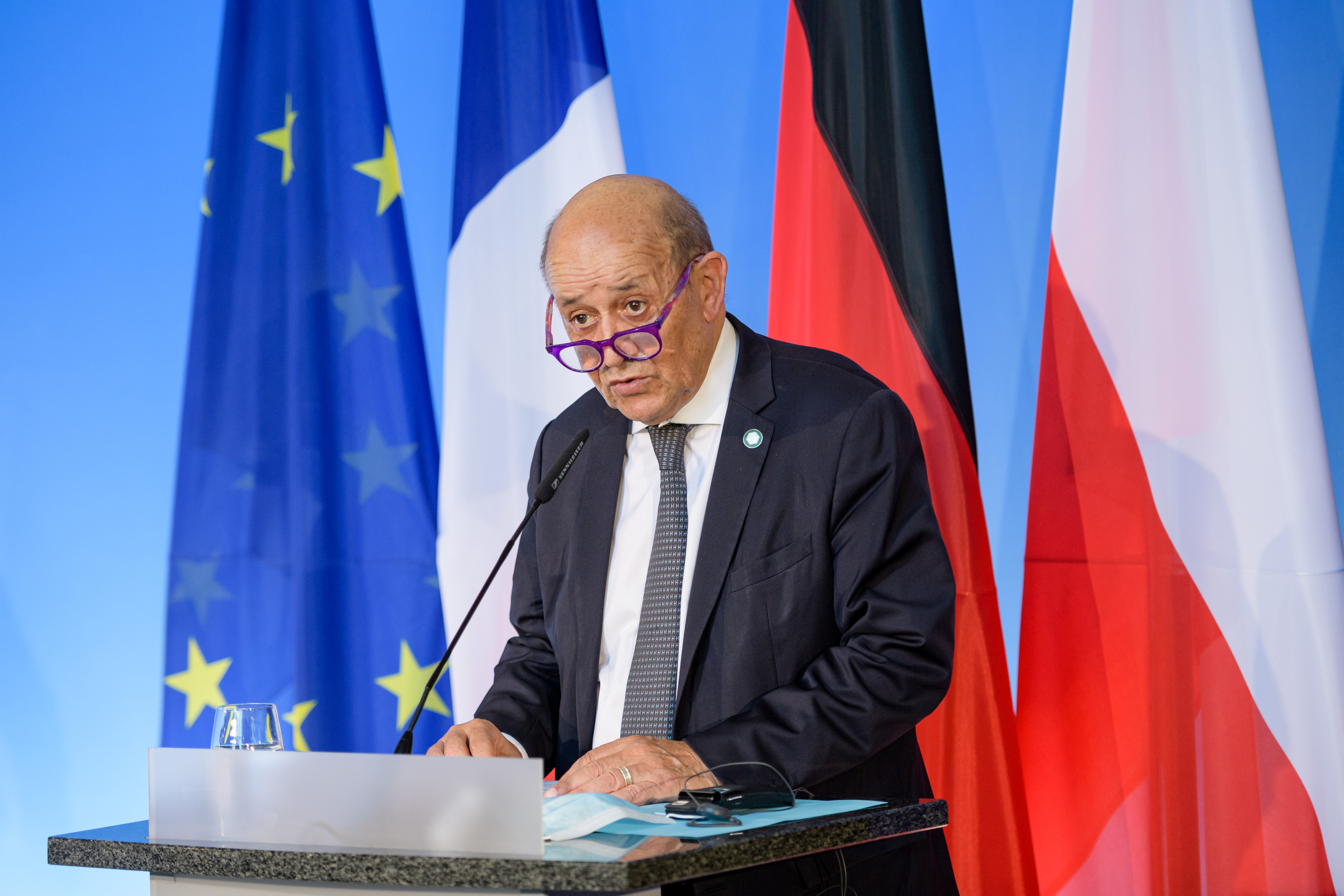 French Foreign Minister Jean-Yves Le Drian attends a joint news conference at the Bauhaus University in Weimar, Germany September 10, 2021.  Jens Schlueter/Pool via REUTERS