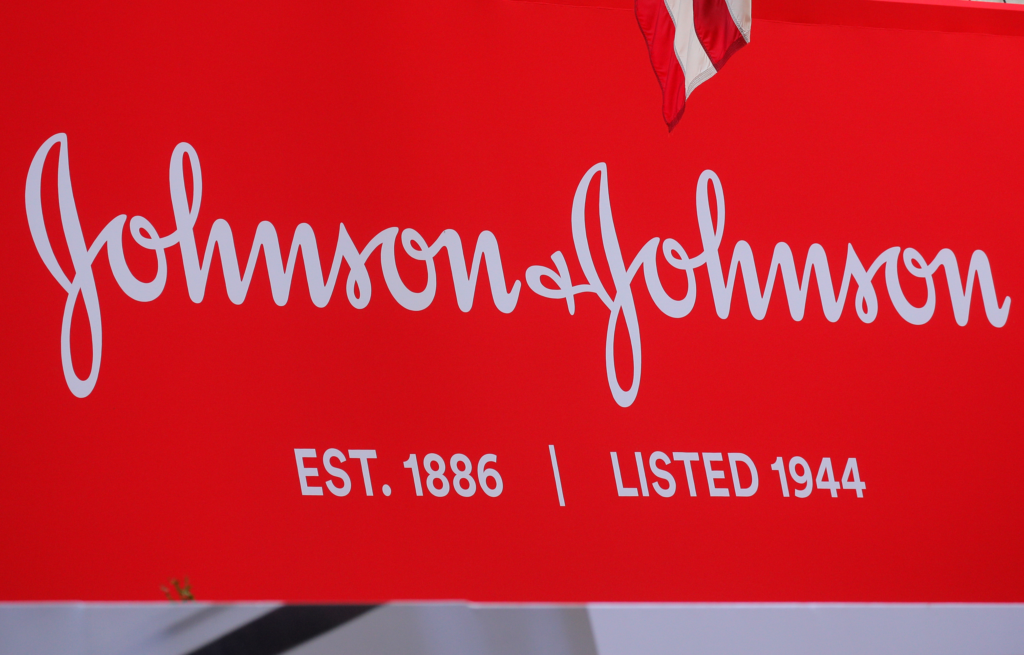 The company logo for Johnson & Johnson is displayed to celebrate the 75th anniversary of the company's listing at the New York Stock Exchange (NYSE) in New York, U.S., September 17, 2019. REUTERS/Brendan McDermid
