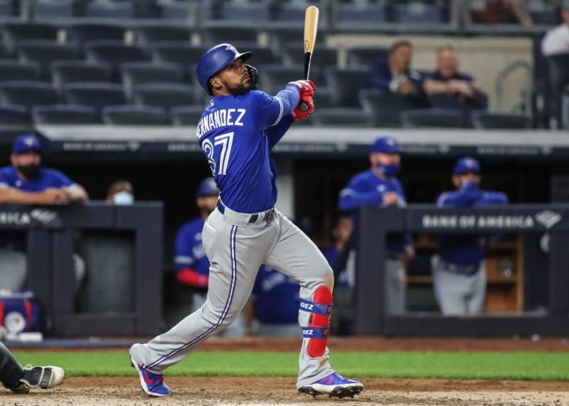 May 27, 2021; Bronx, New York, USA;  Toronto Blue Jays right fielder Teoscar Hernandez (37) at Yankee Stadium. Mandatory Credit: Wendell Cruz-USA TODAY Sports